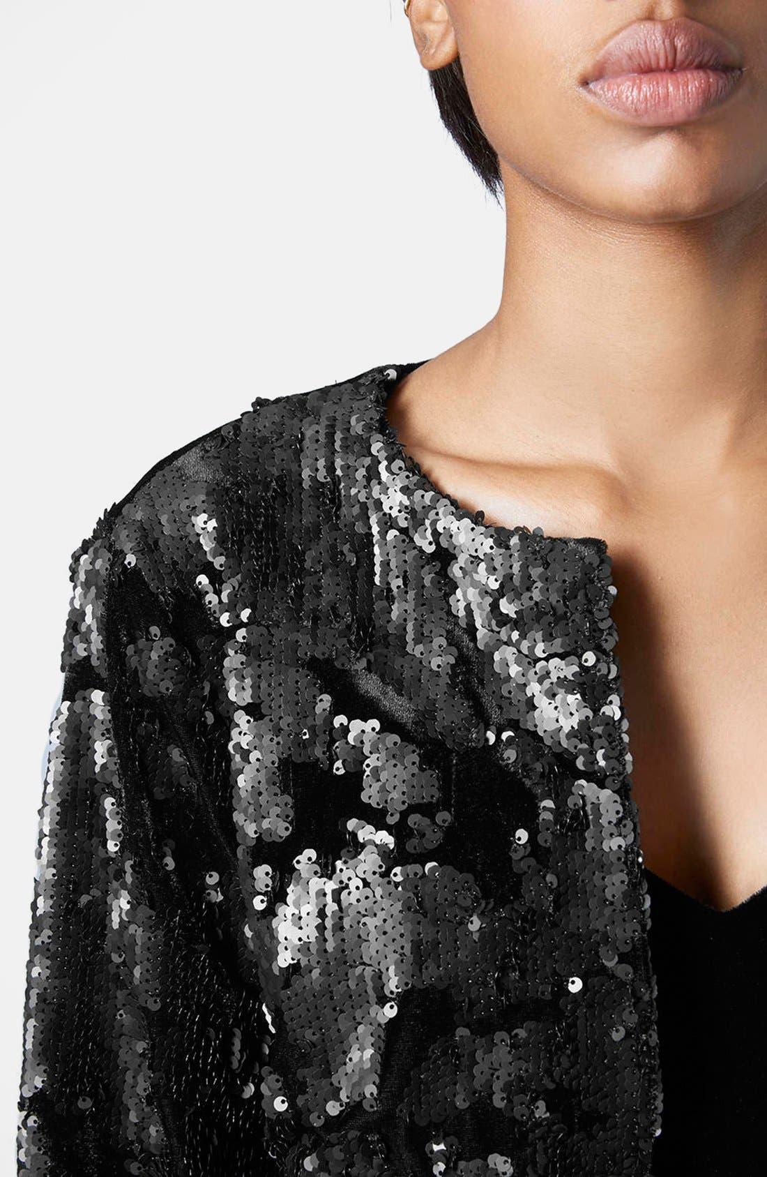 Velvet Sequin Jacket,                             Alternate thumbnail 5, color,                             001