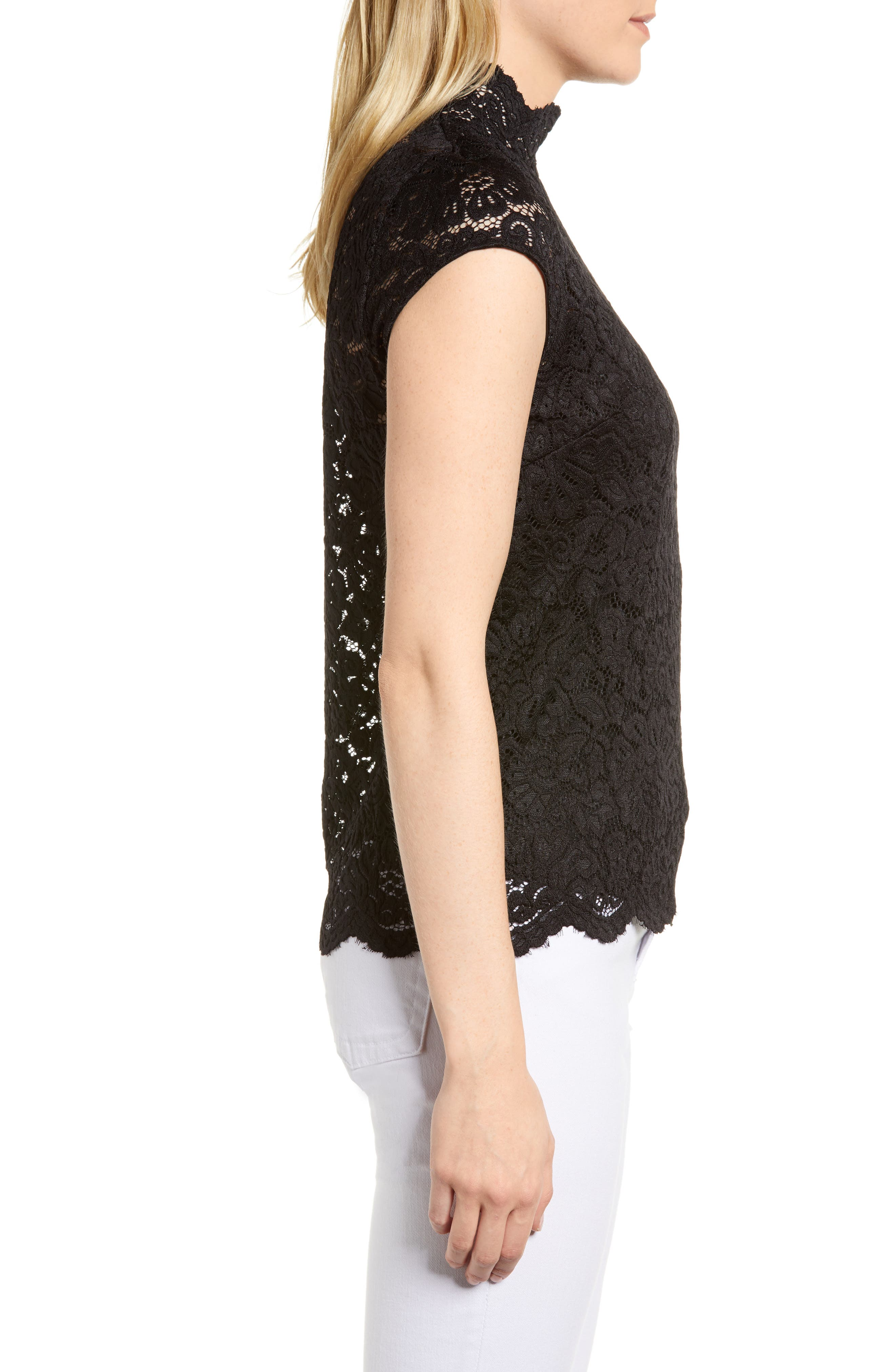 Filippa Lace Cap Sleeve Top,                             Alternate thumbnail 3, color,