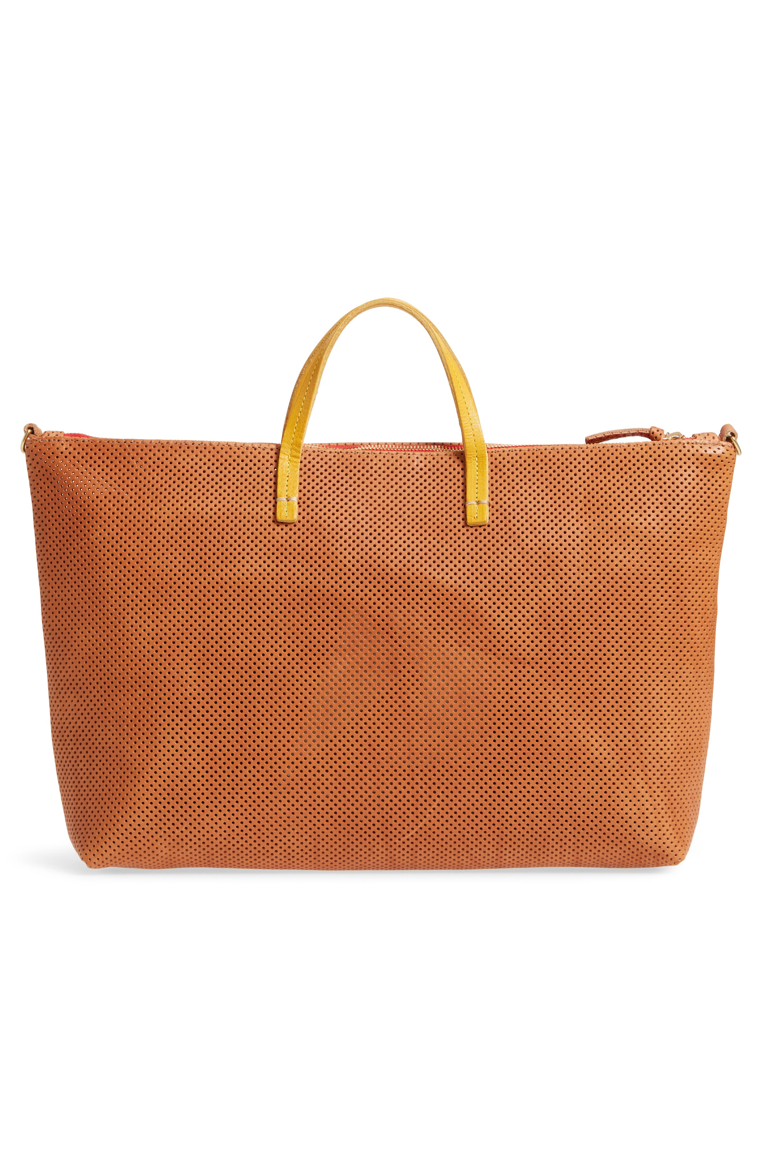 Perforated Leather Tote,                             Alternate thumbnail 3, color,                             200