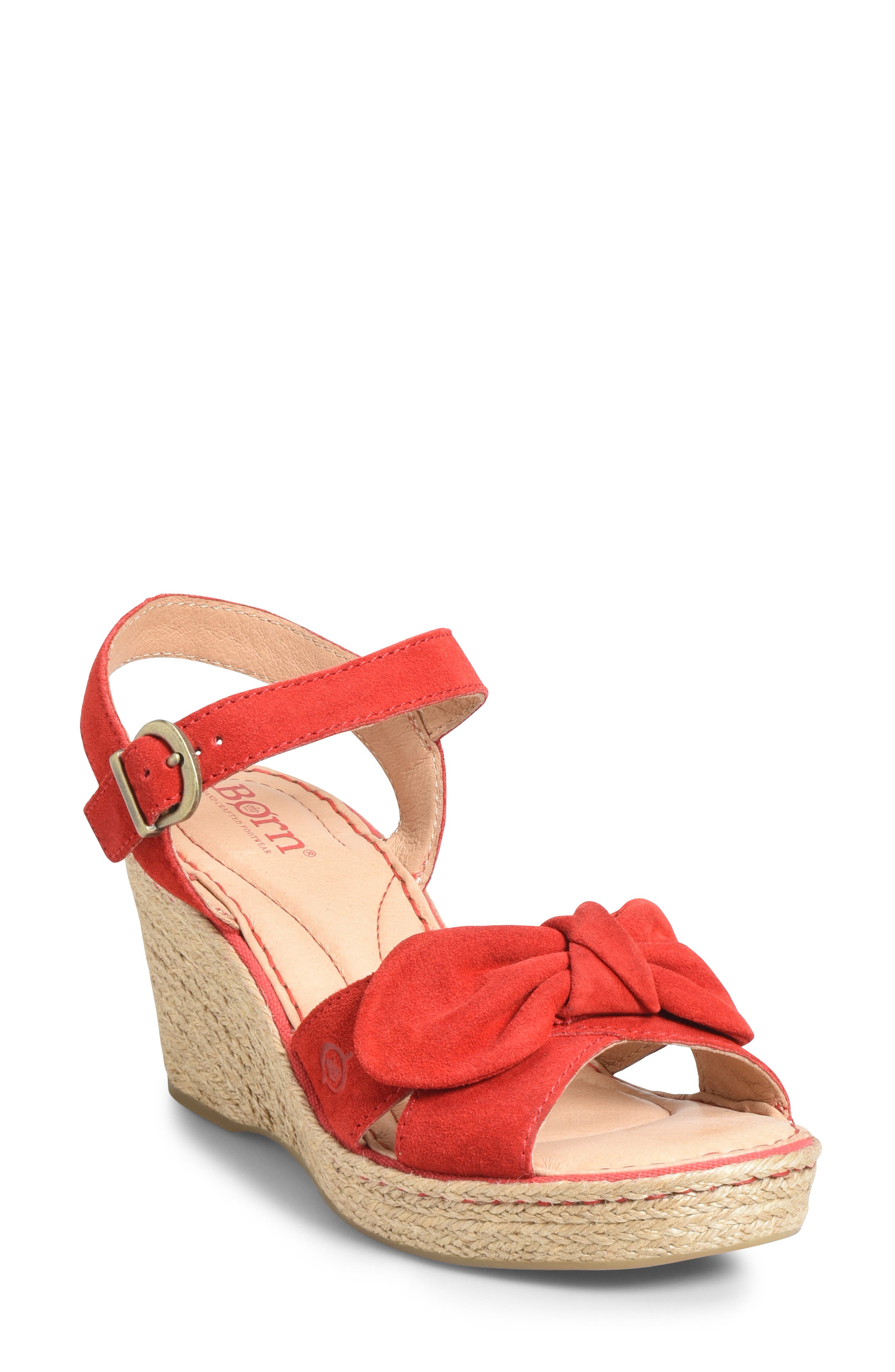 B?rn Monticello Knotted Wedge Sandal, Red