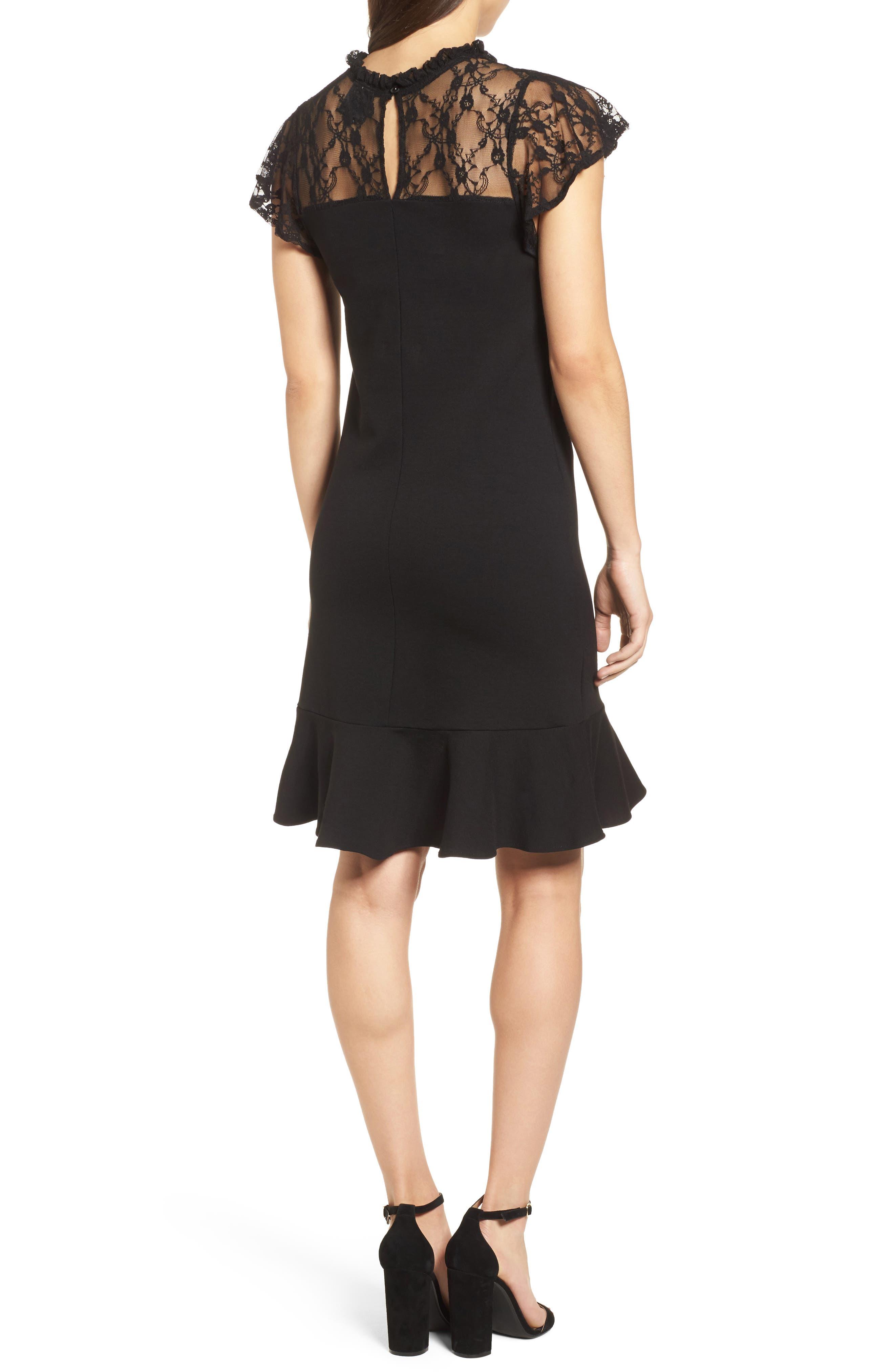 Lace Yoke Ruffled A-Line Dress,                             Alternate thumbnail 2, color,                             001
