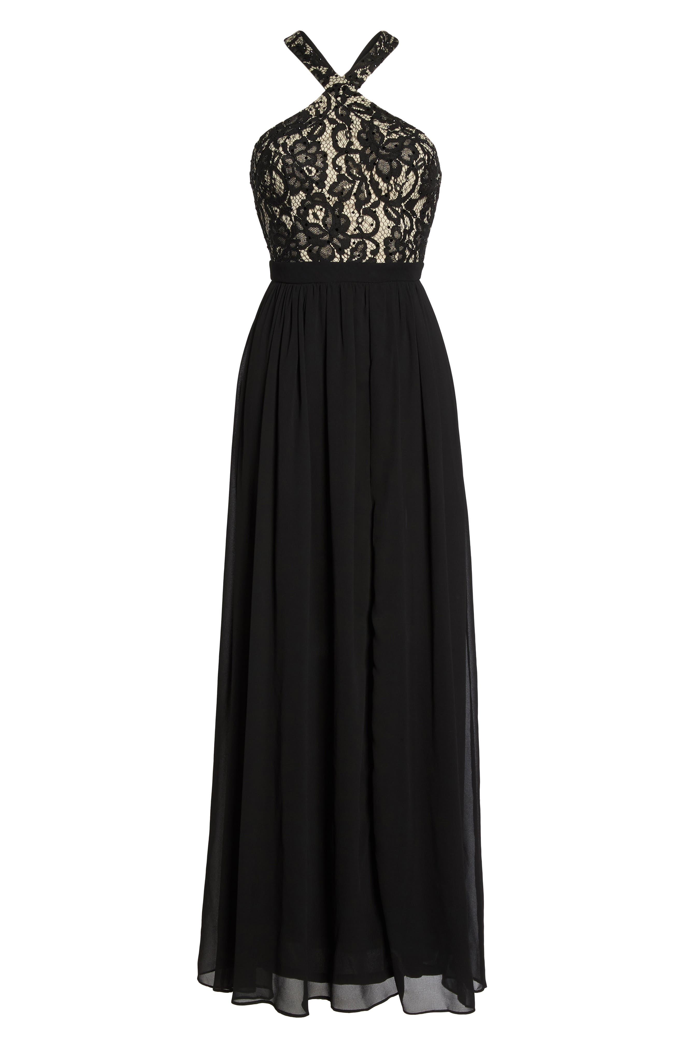 Sequin Lace & Chiffon Halter Gown,                             Alternate thumbnail 7, color,                             BLACK/ NUDE