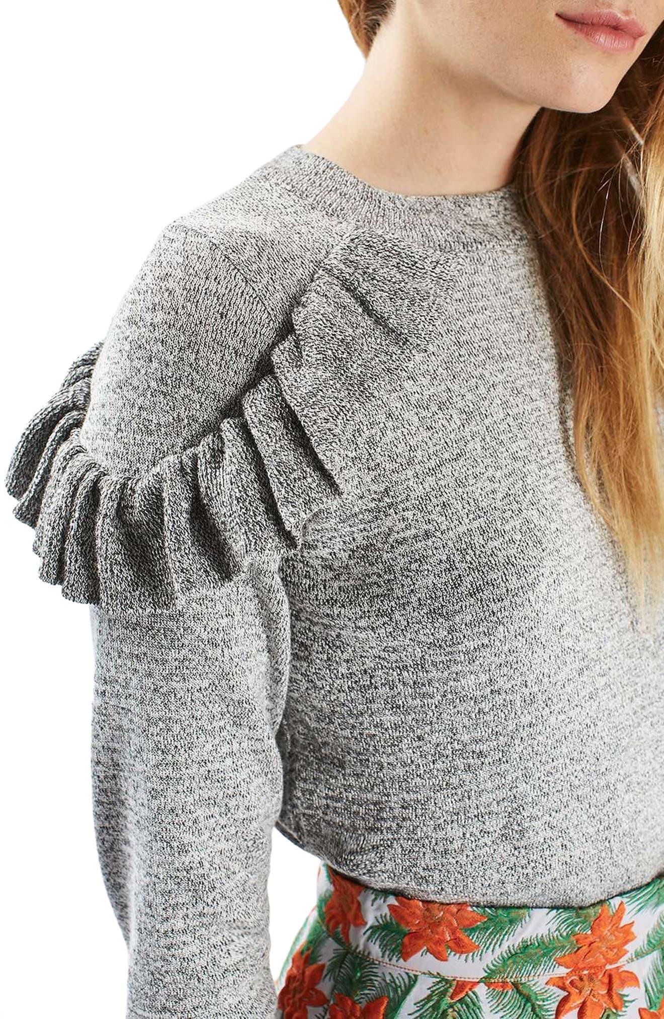 Ruffle Shoulder Sweater,                             Alternate thumbnail 4, color,                             020