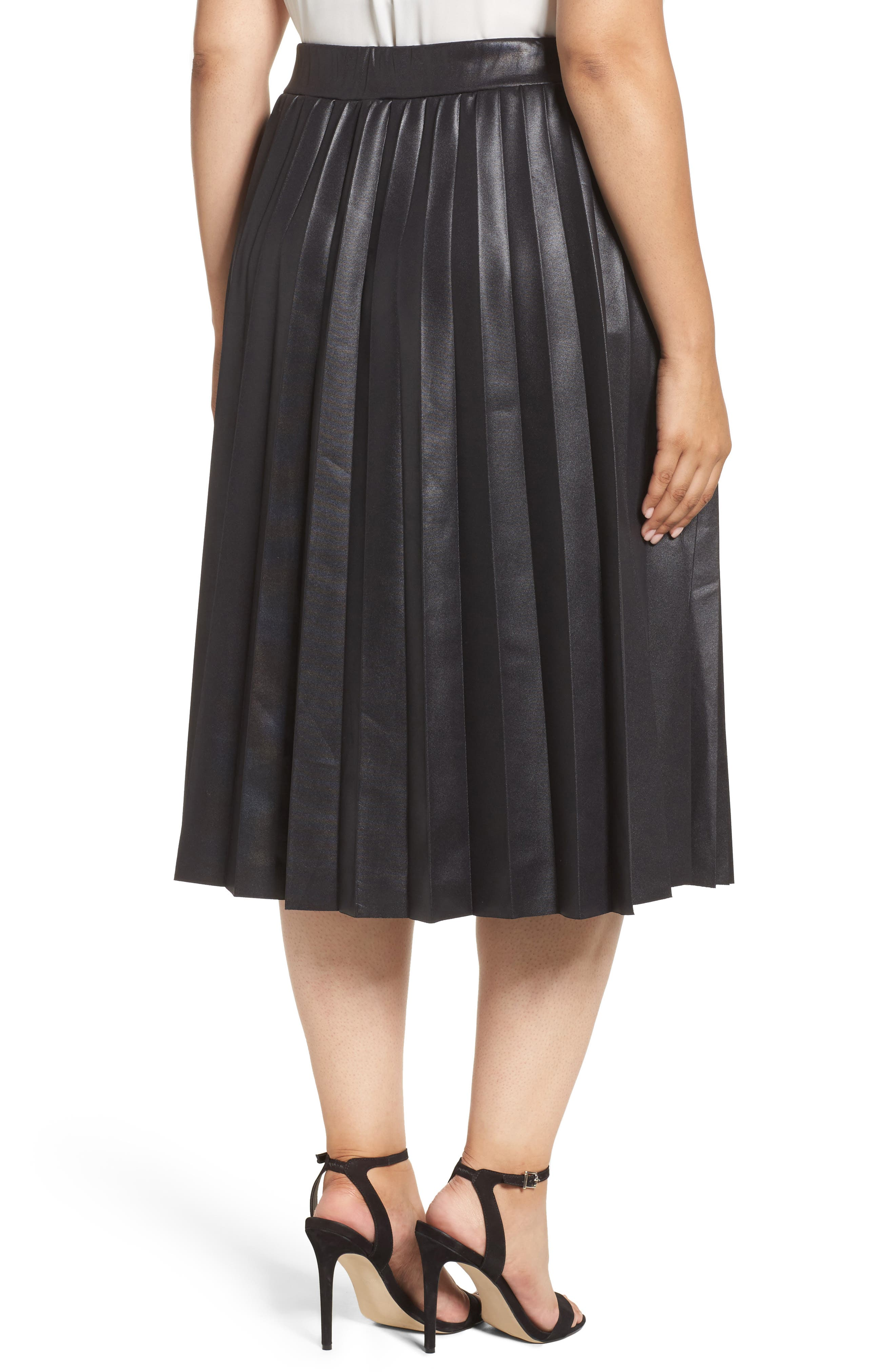 Coated Jersey Pleated Skirt,                             Alternate thumbnail 2, color,                             001