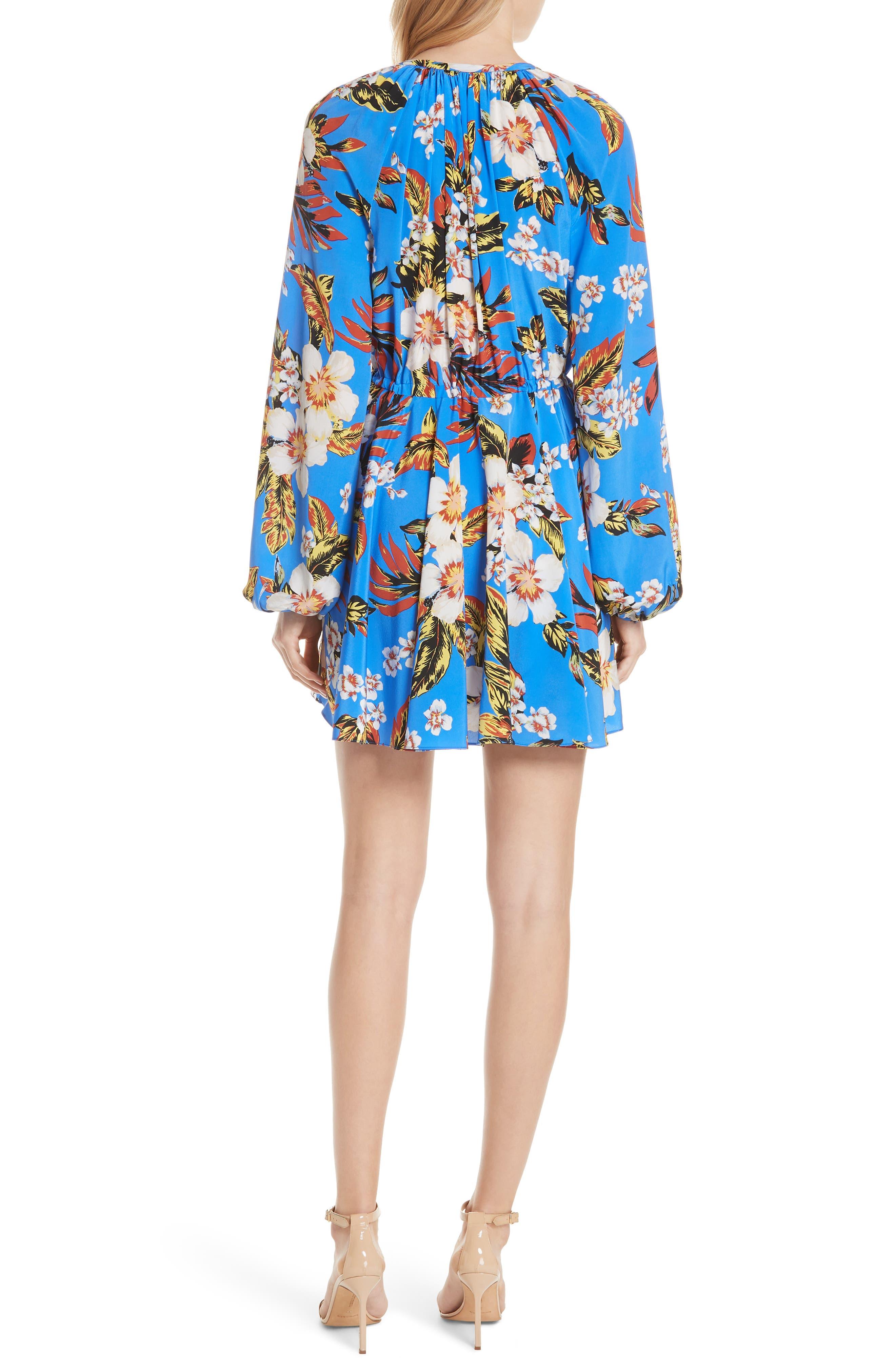 Tie Waist Floral Silk Dress,                             Alternate thumbnail 2, color,                             453