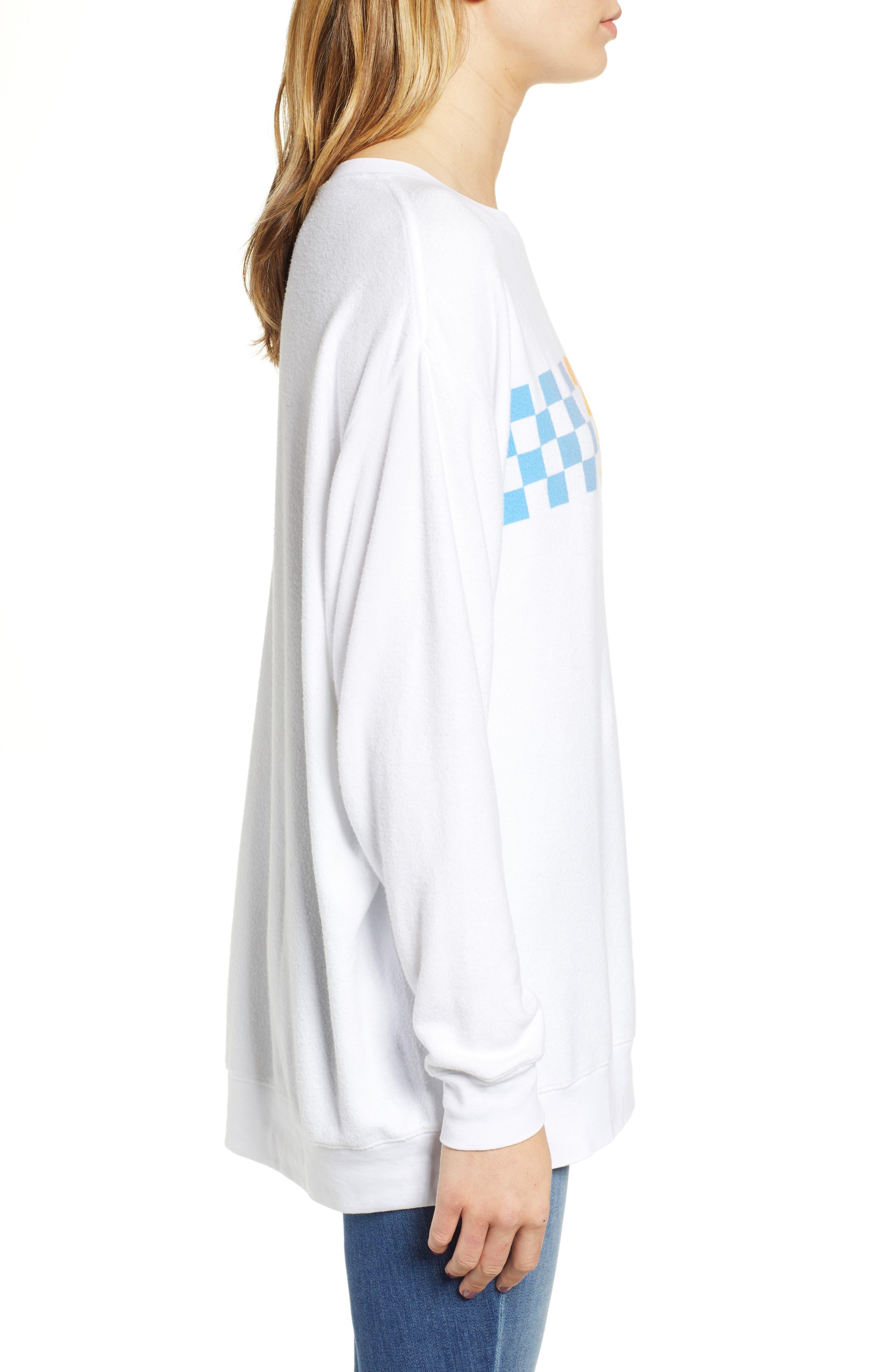 Roadtrip - Racer Check Sweatshirt,                             Alternate thumbnail 3, color,                             CLEAN WHITE