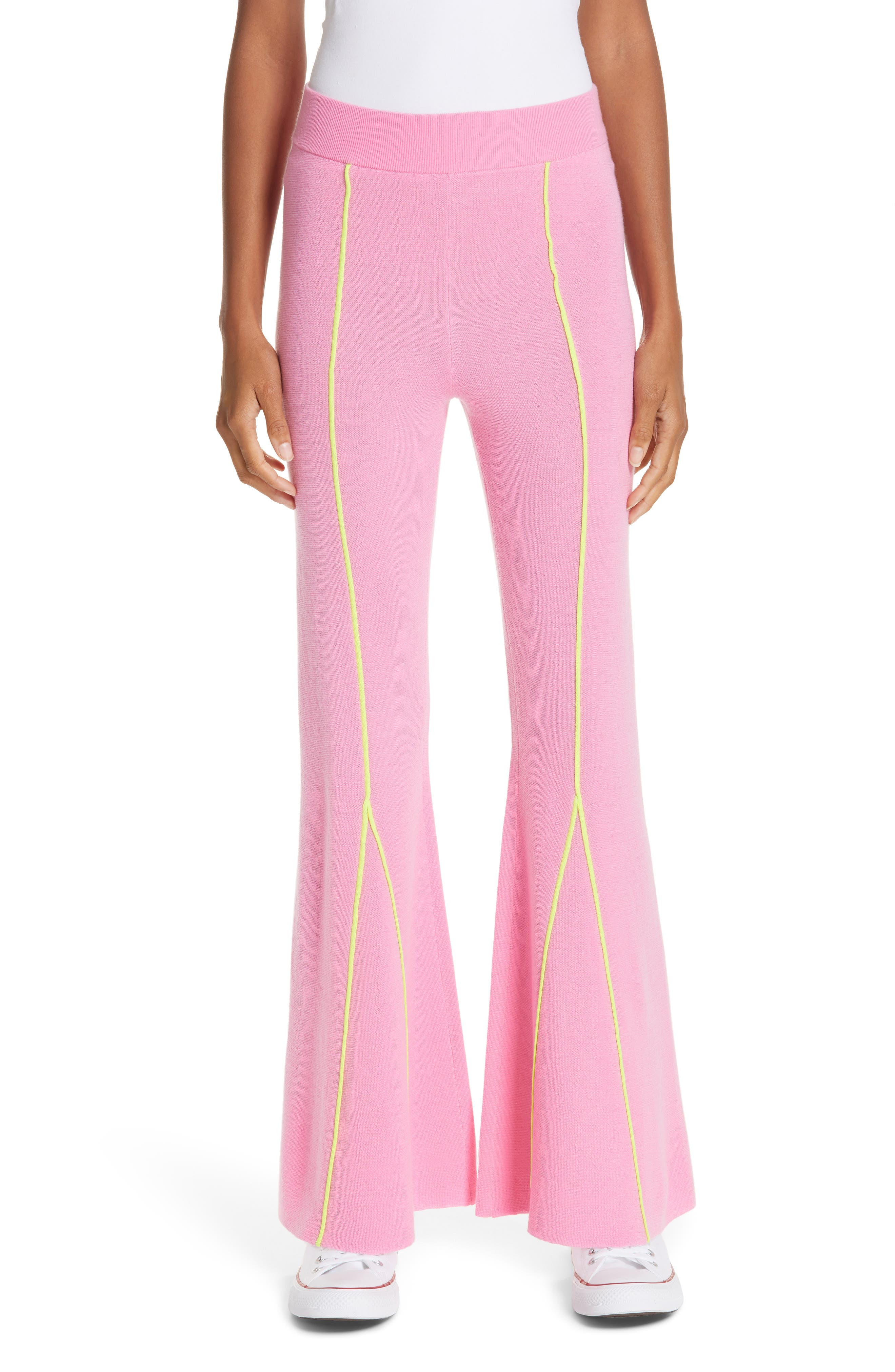 VICTOR GLEMAUD Knitted Flare Wool Pants in Pink