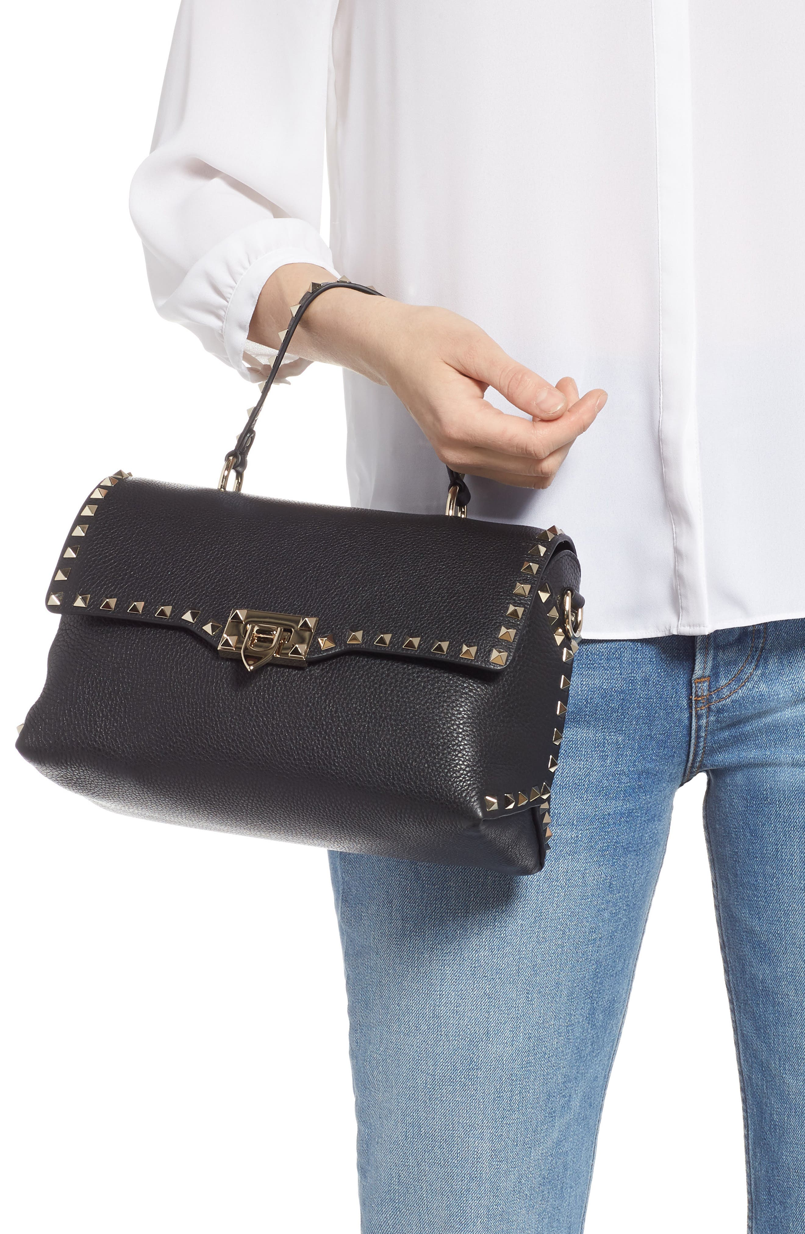 Rockstud Leather Top Handle Bag,                             Alternate thumbnail 2, color,                             NERO