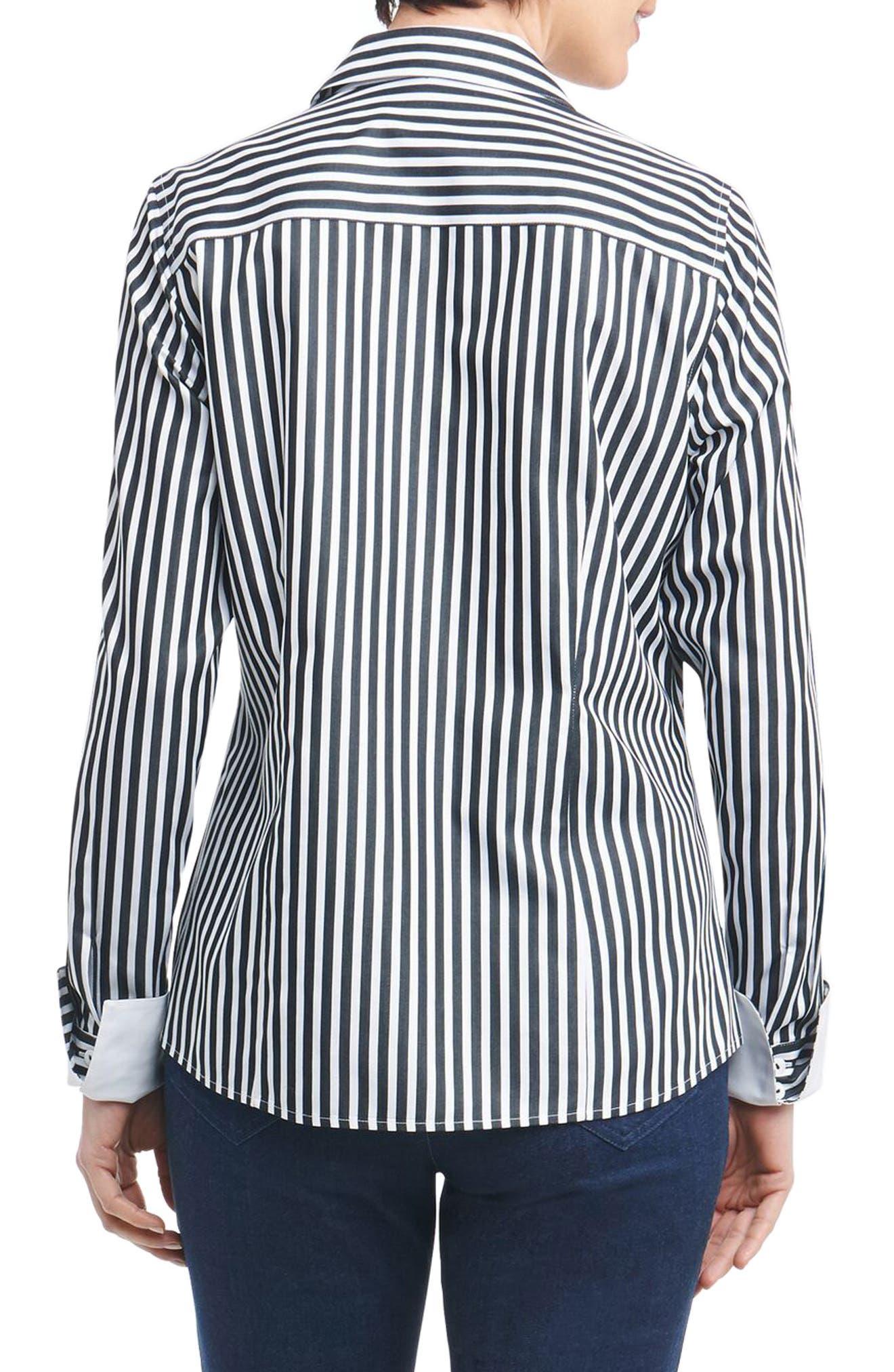 Lauren Sateen Stripe Shirt,                             Alternate thumbnail 3, color,