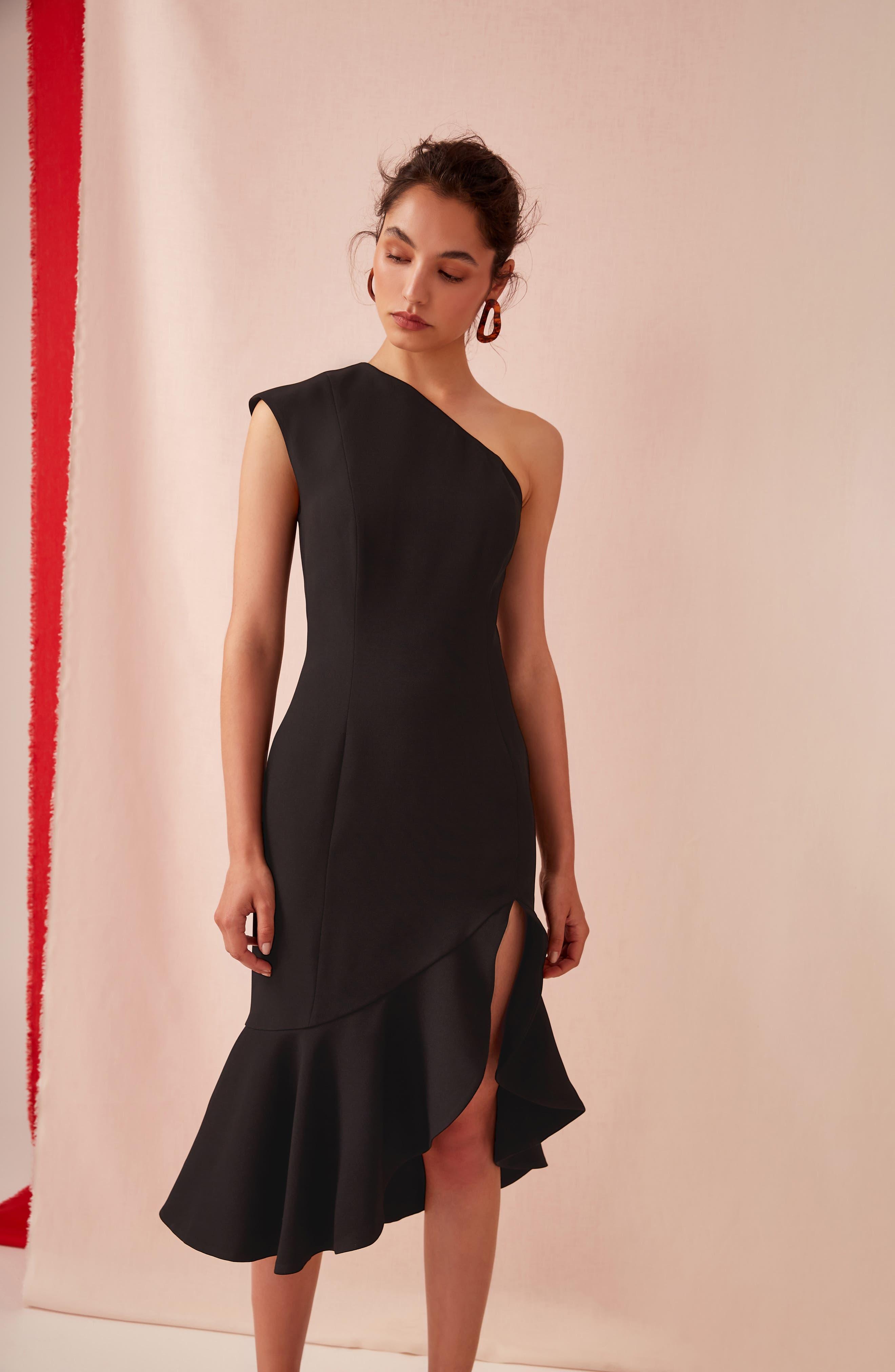 KEEPSAKE THE LABEL,                             Mirrors One-Shoulder Asymmetrical Dress,                             Alternate thumbnail 8, color,                             001
