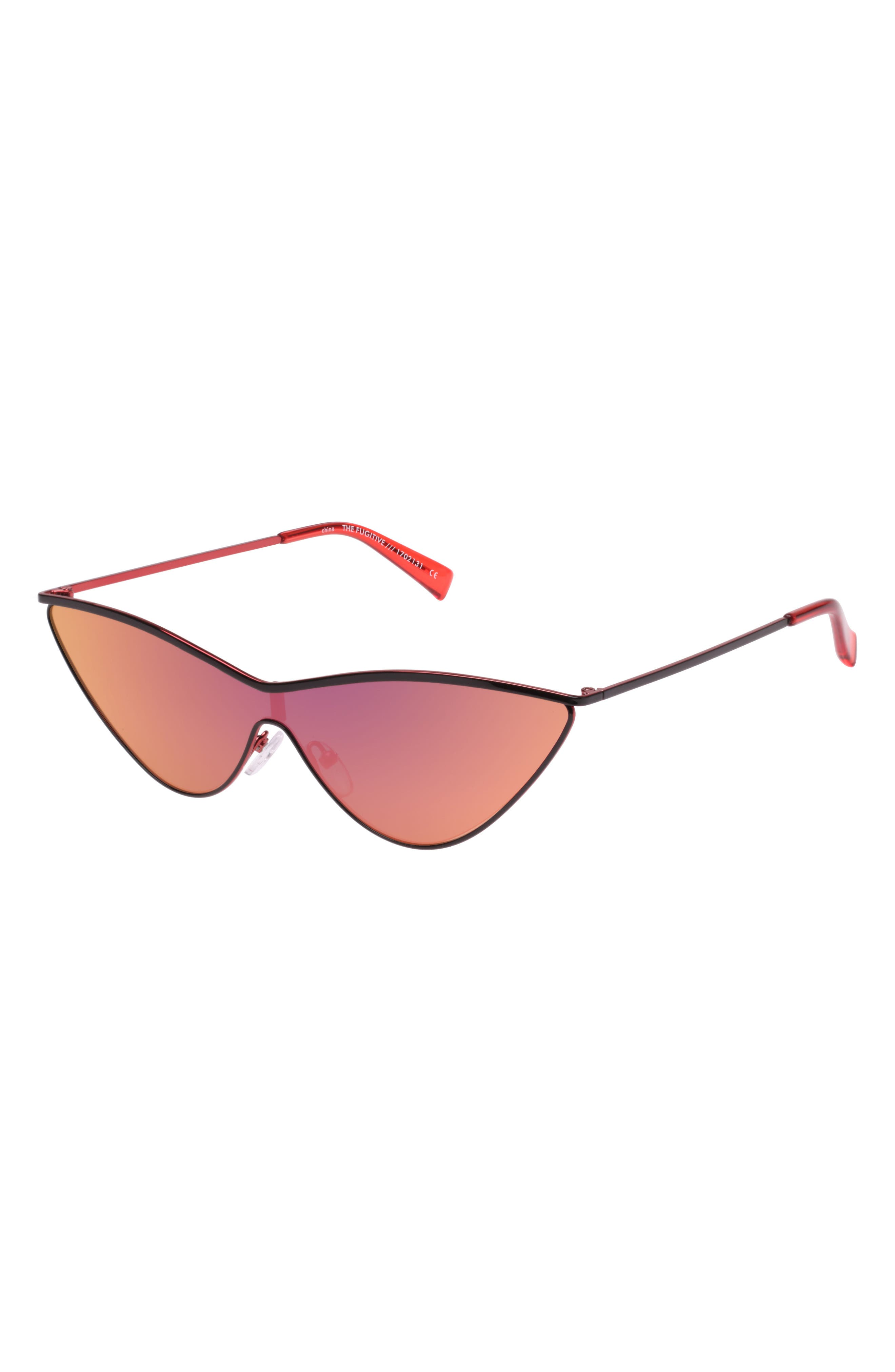 The Fugitive 71mm Sunglasses,                             Alternate thumbnail 3, color,                             BLACK/ RED