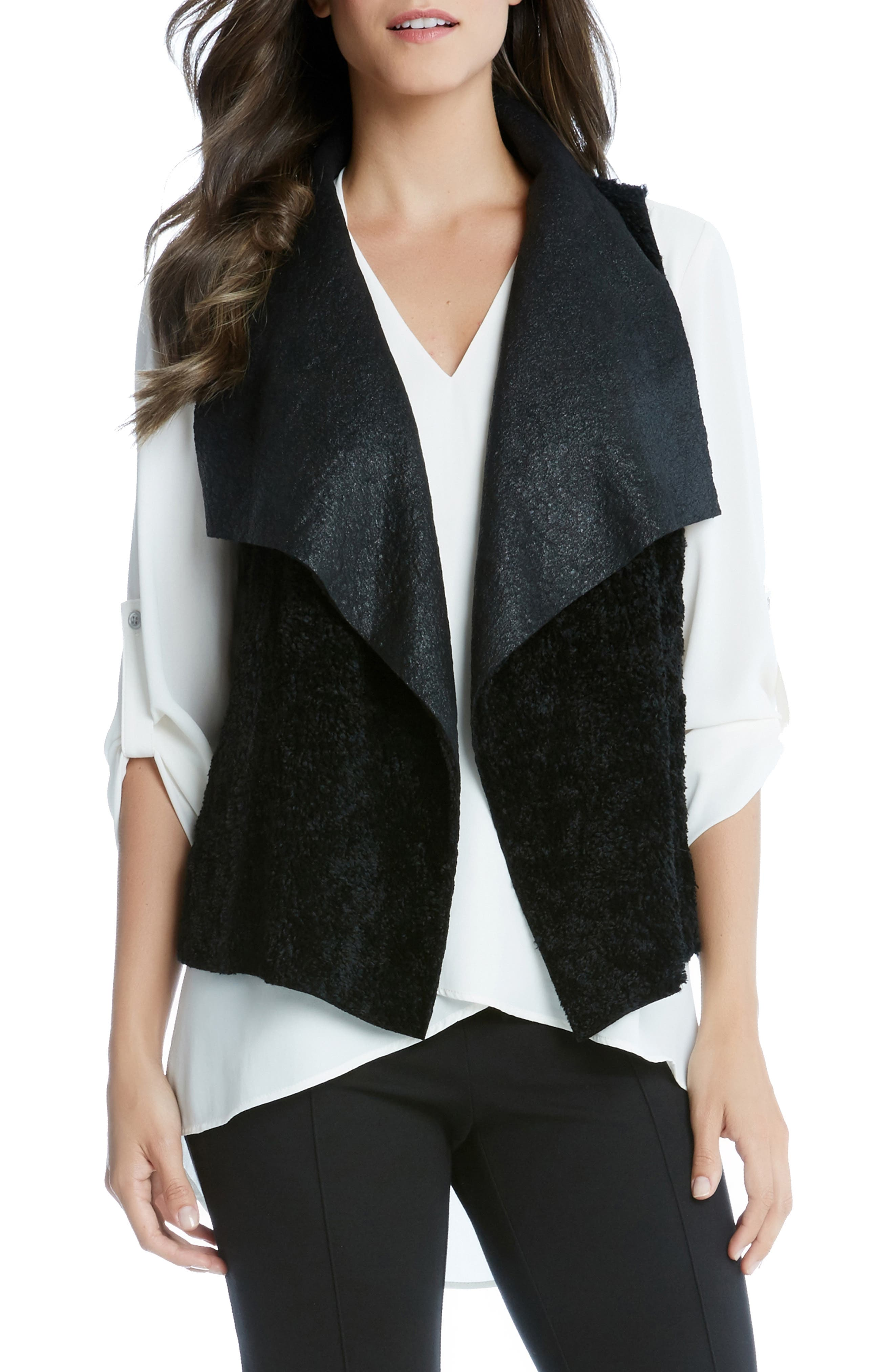 Reversible Faux Fur Vest,                             Main thumbnail 1, color,                             BLACK