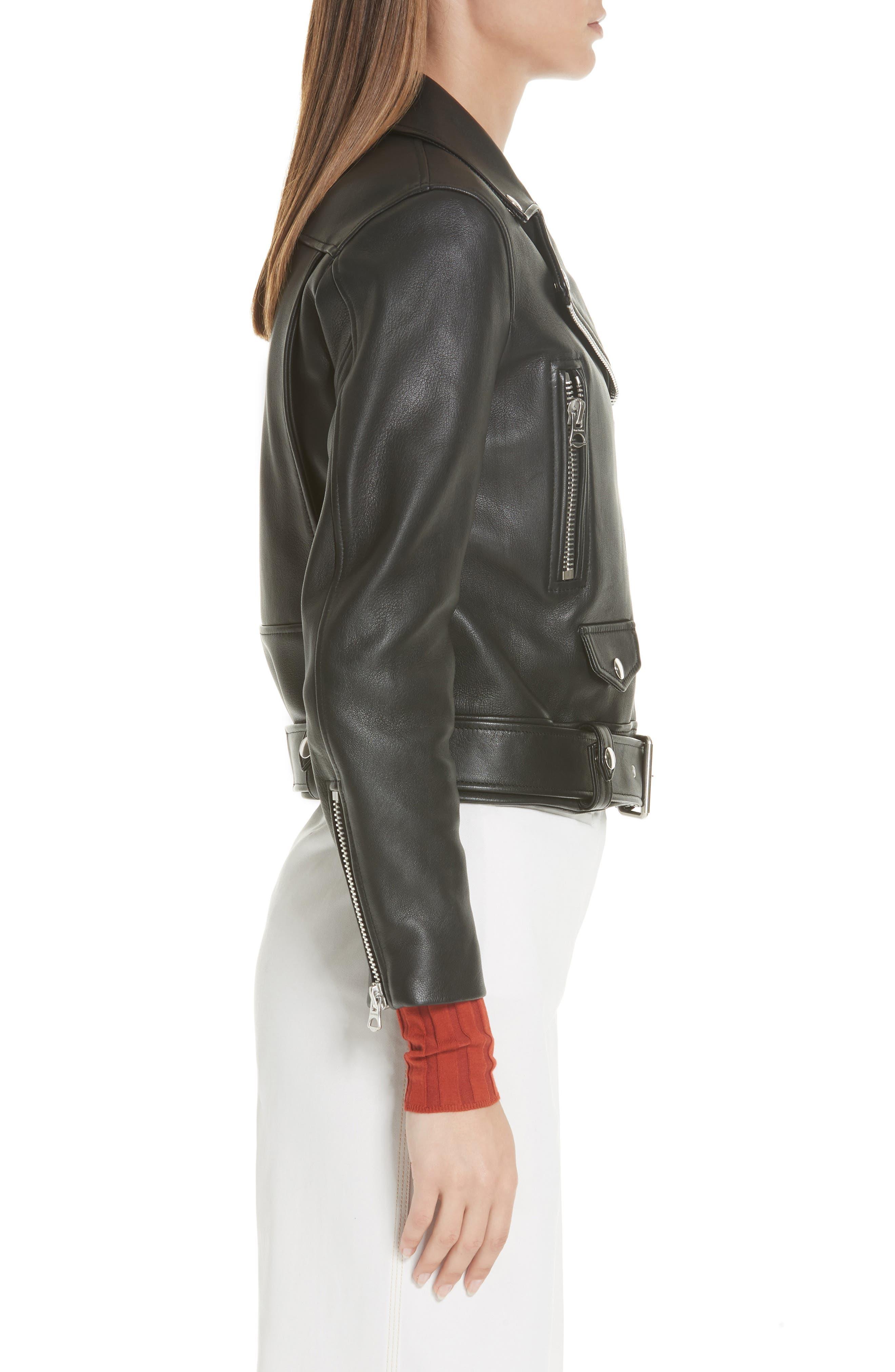 Mock Core Leather Moto Jacket,                             Alternate thumbnail 3, color,                             BLACK