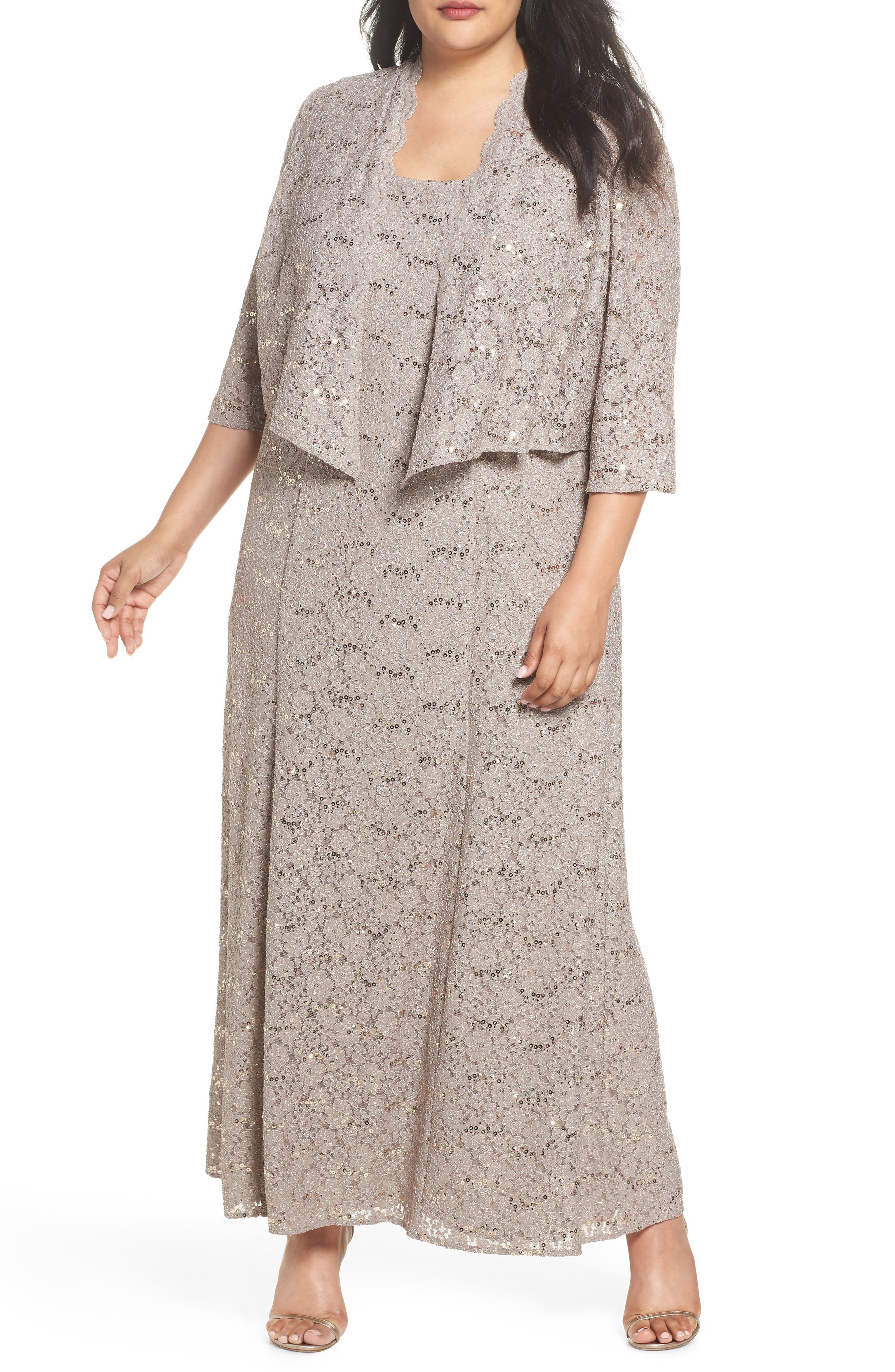 Sequin Lace Gown with Jacket,                             Main thumbnail 1, color,                             MINK