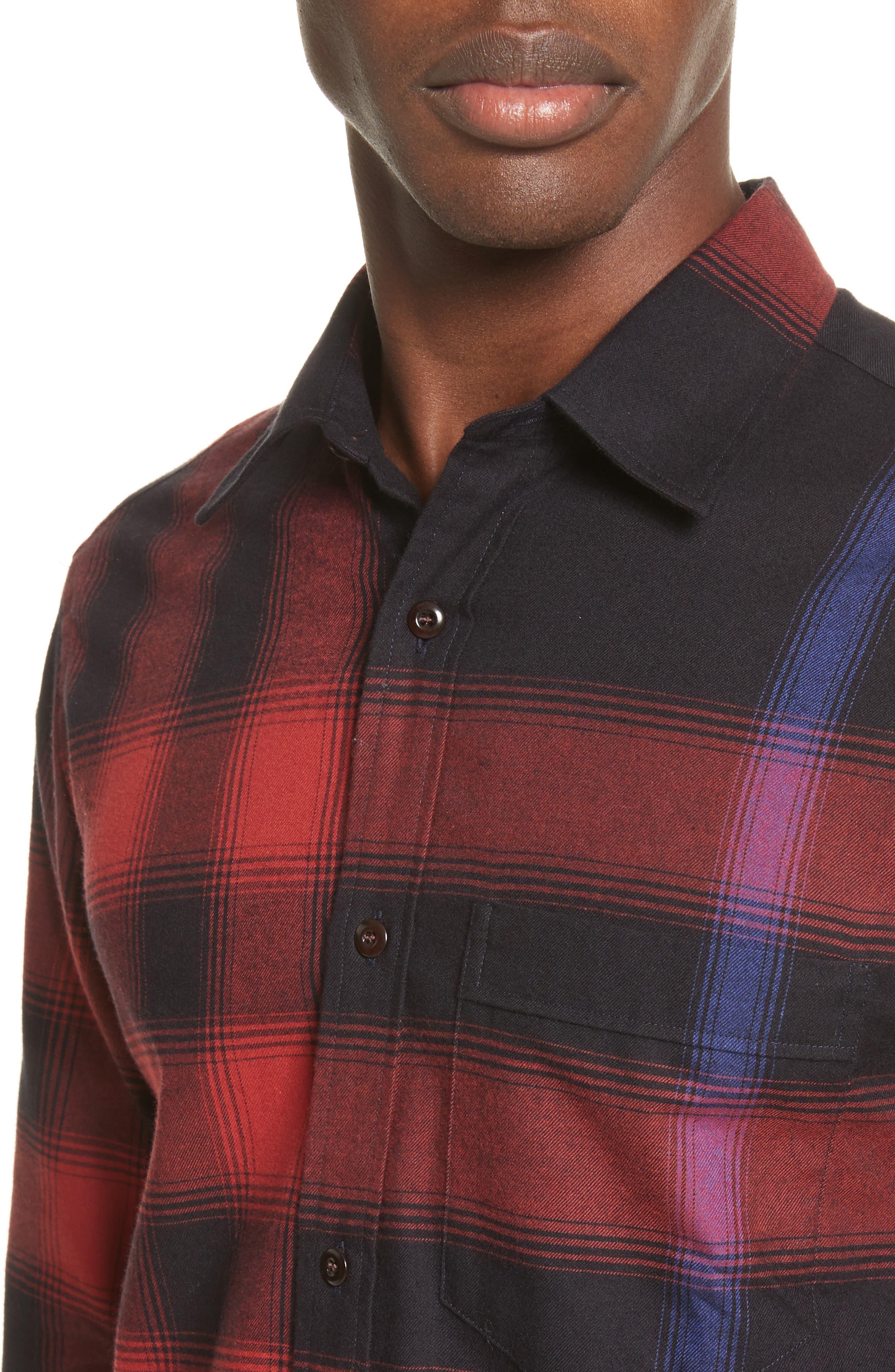 Strenton Slim Fit Plaid Long Sport Shirt,                             Alternate thumbnail 5, color,