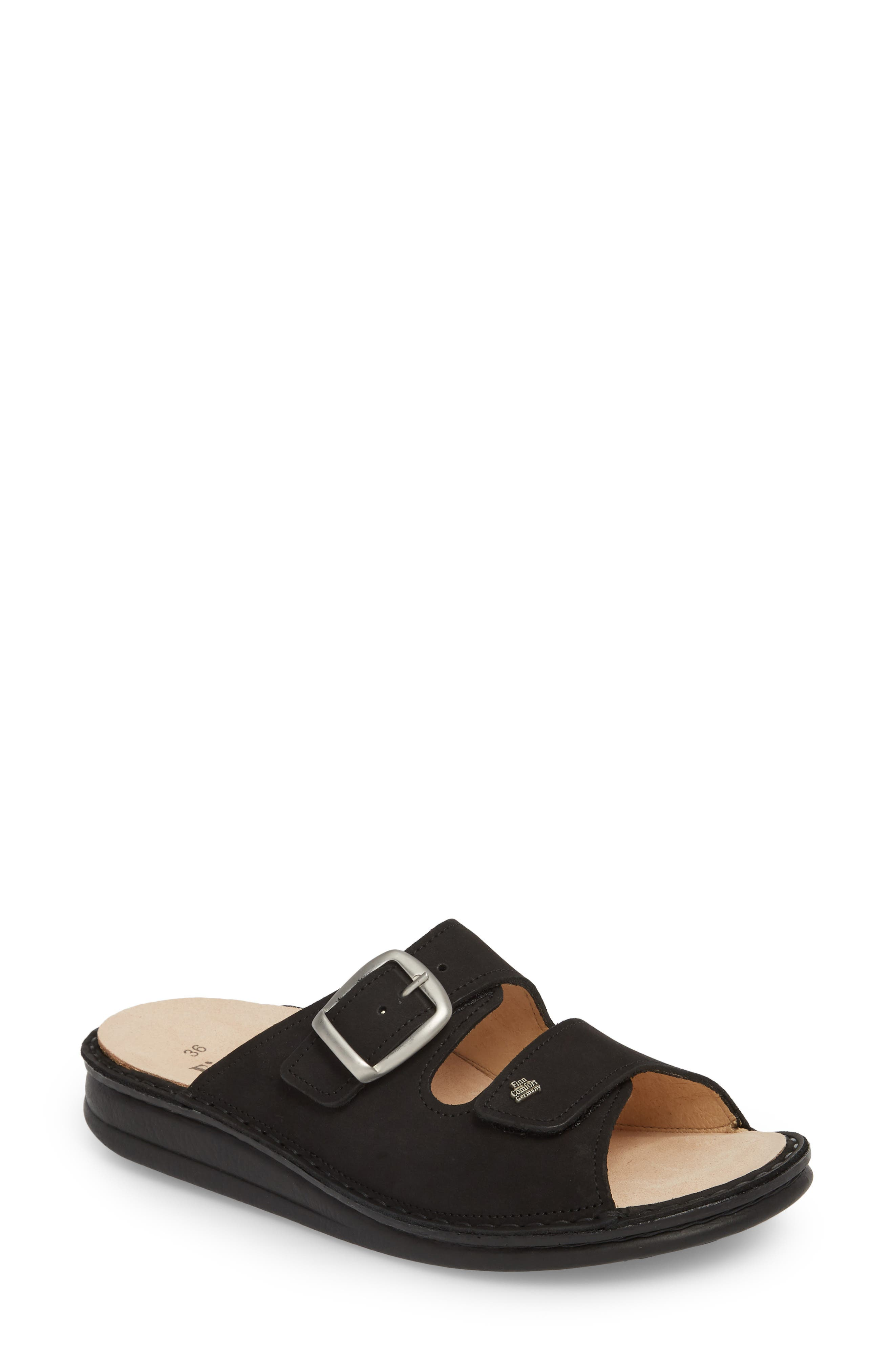 Harper Slide Sandal,                         Main,                         color, BLACK LEATHER