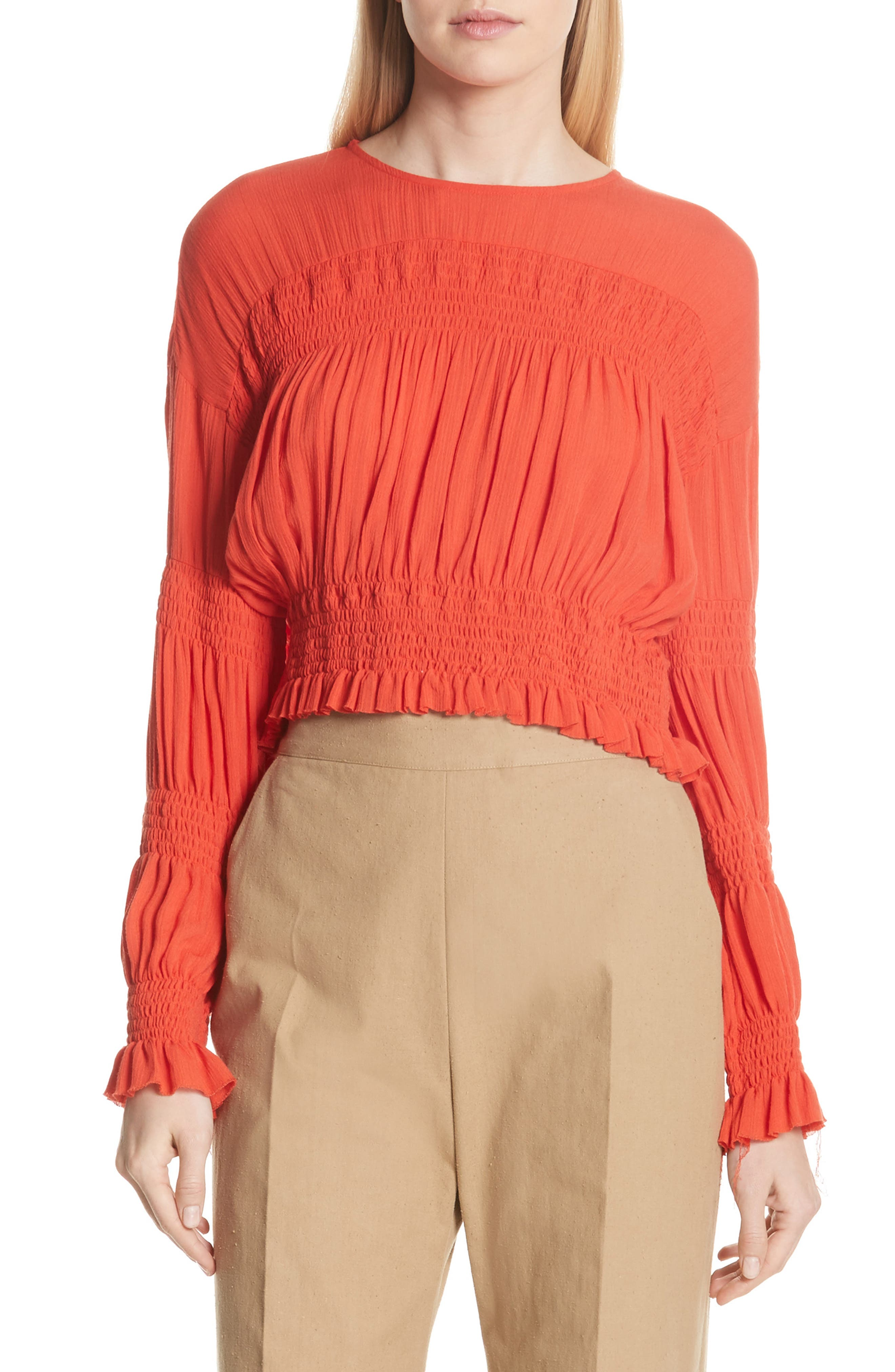 Penta Smocked Blouse,                         Main,                         color, CORAL