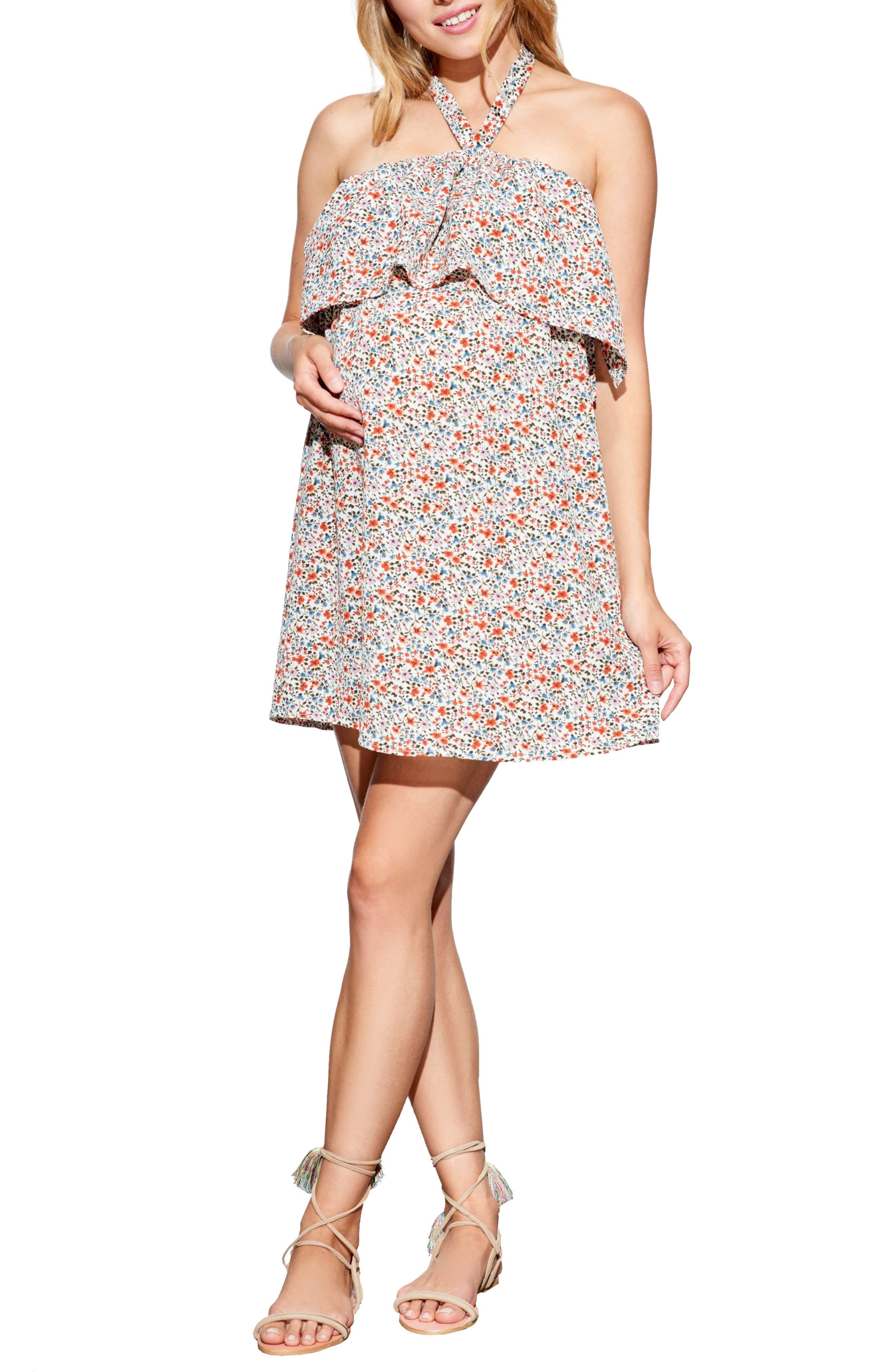 Ruffle Maternity/Nursing Dress,                         Main,                         color,