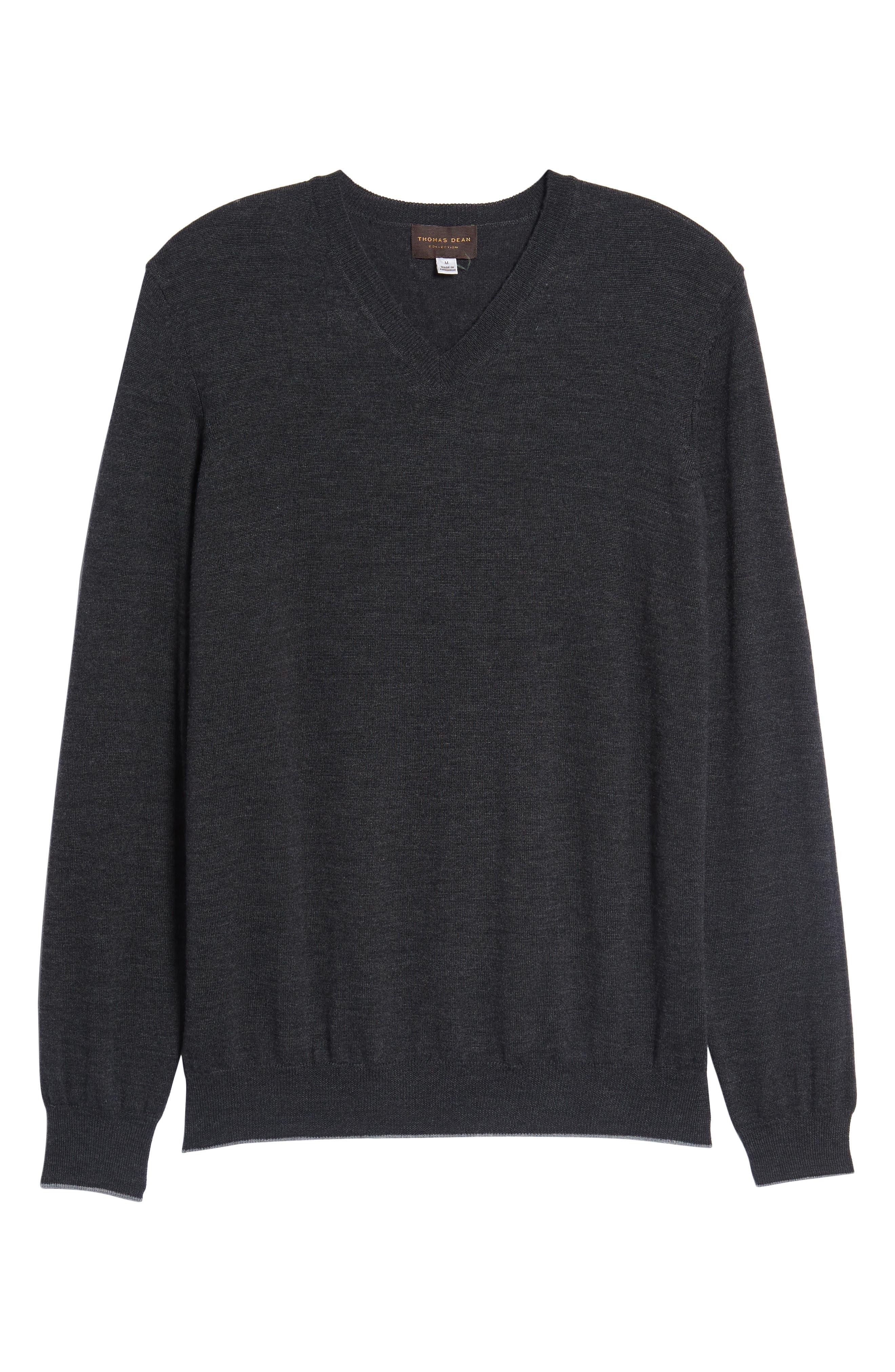 Merino Wool Blend V-Neck Sweater,                             Alternate thumbnail 6, color,                             020