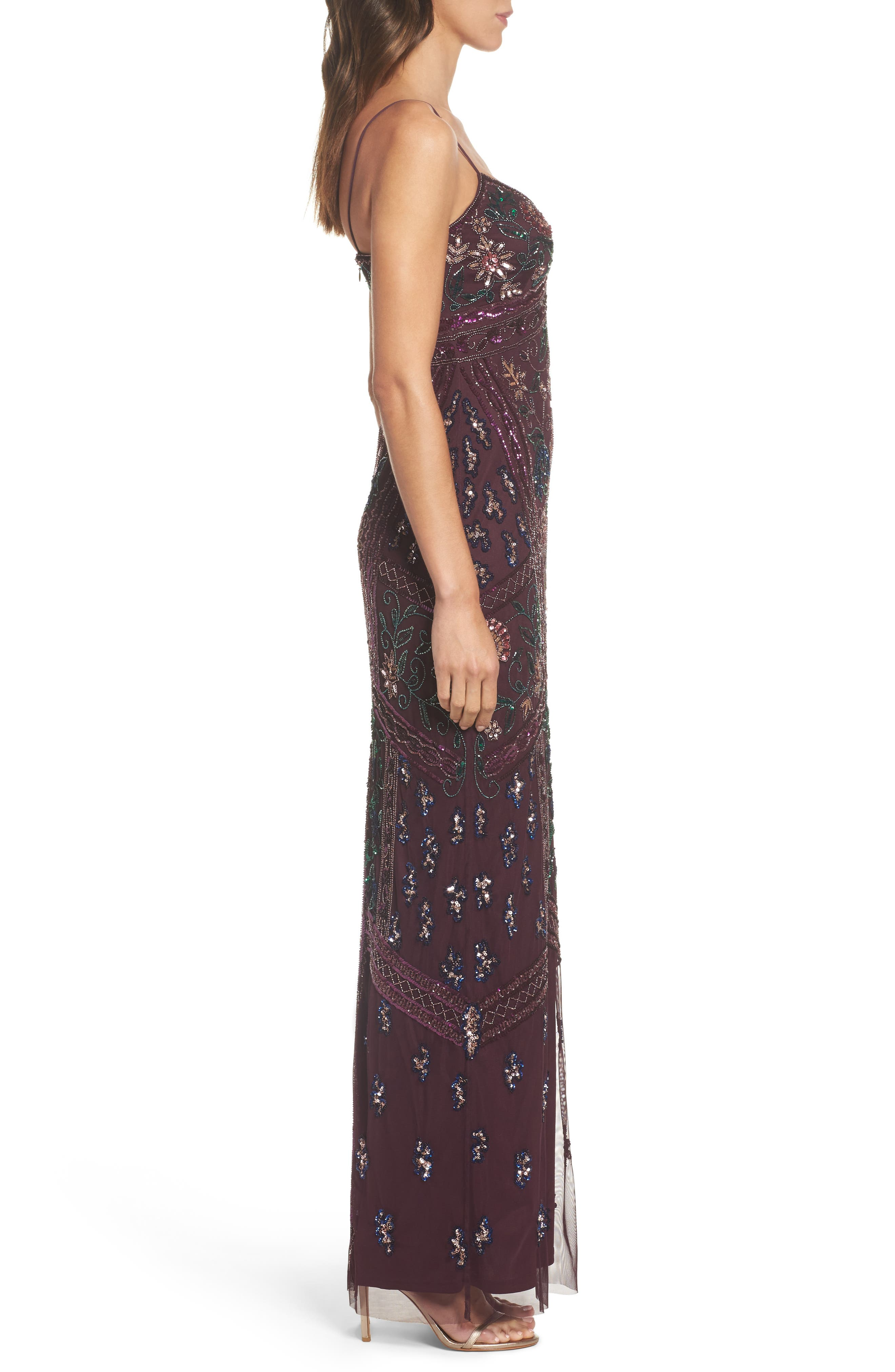 Floral Beaded Column Gown,                             Alternate thumbnail 3, color,                             504