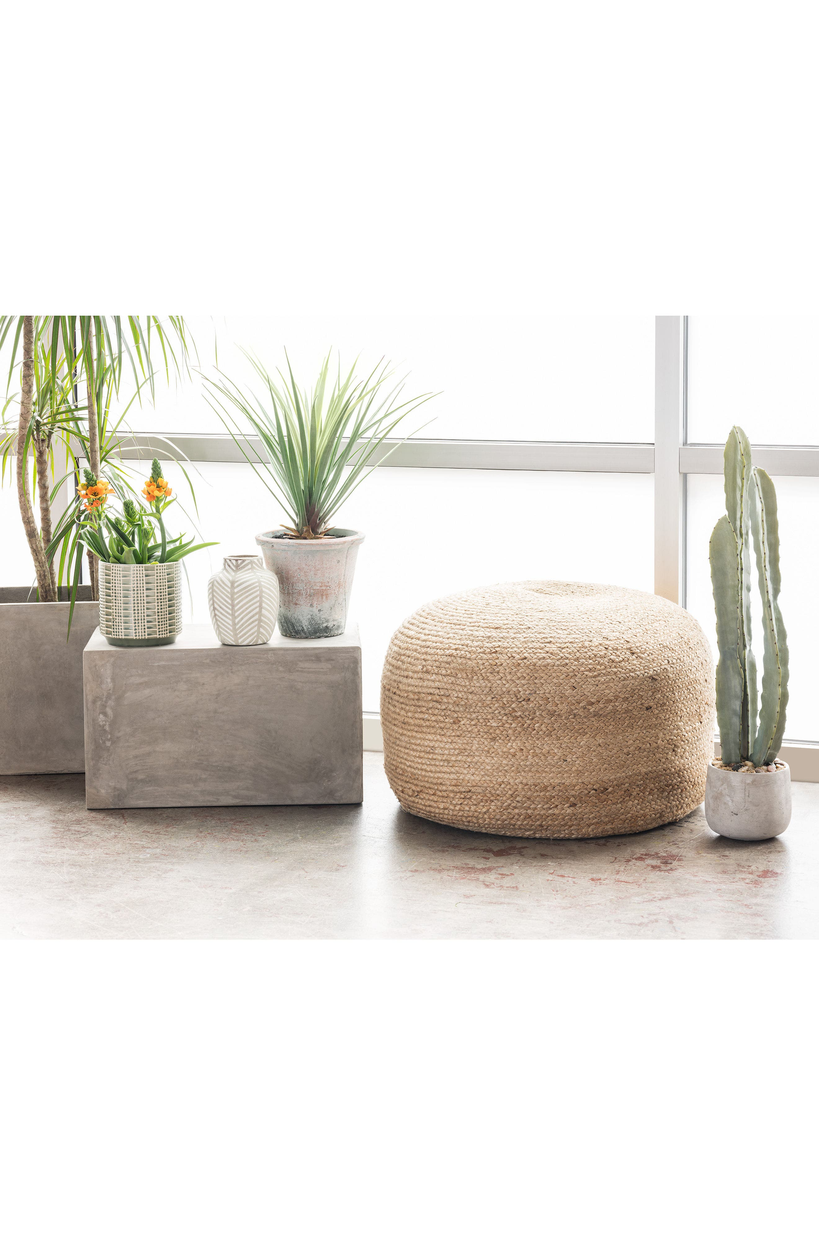 Indoor/Outdoor Jute Pouf,                             Alternate thumbnail 5, color,                             101