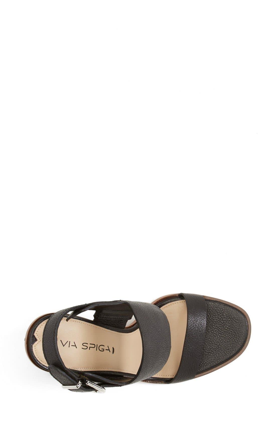 VIA SPIGA,                             'Baris' Leather Slingback Sandal,                             Alternate thumbnail 4, color,                             001