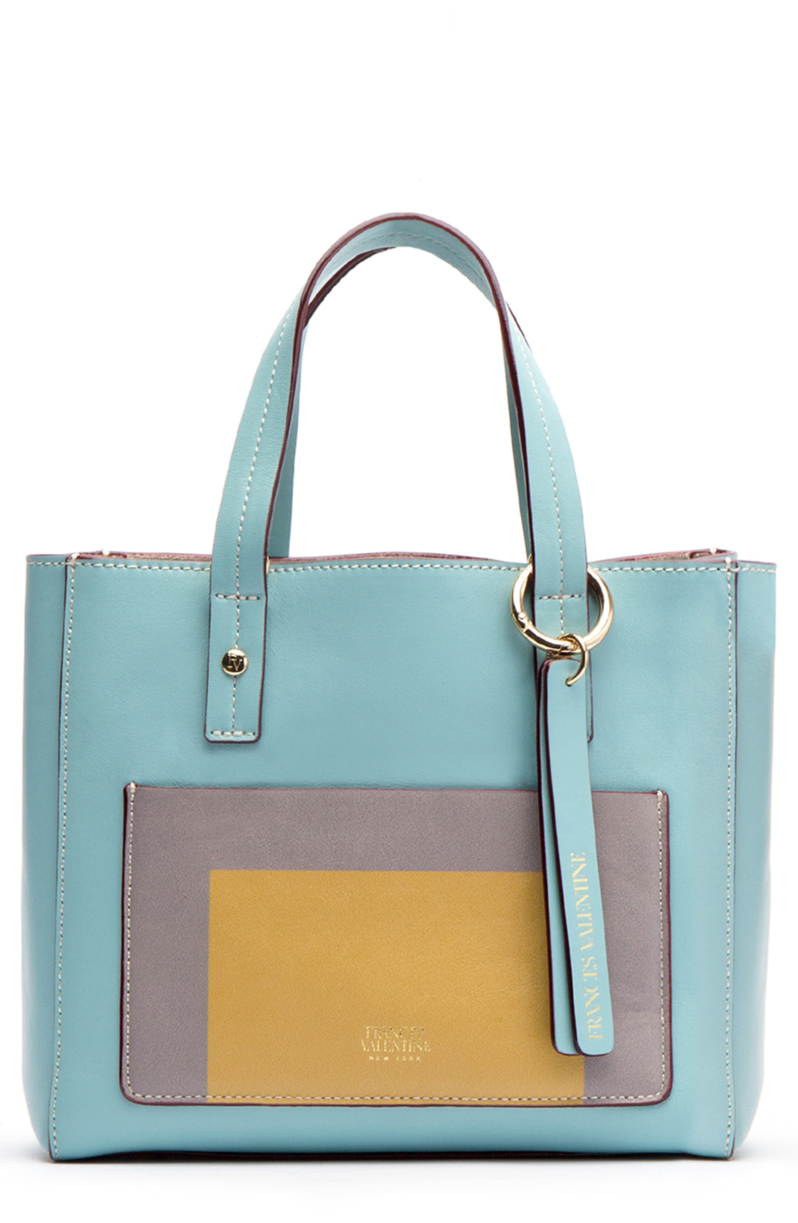 FRANCES VALENTINE Small Chloe Leather Satchel - Blue in Light Blue/ Multi