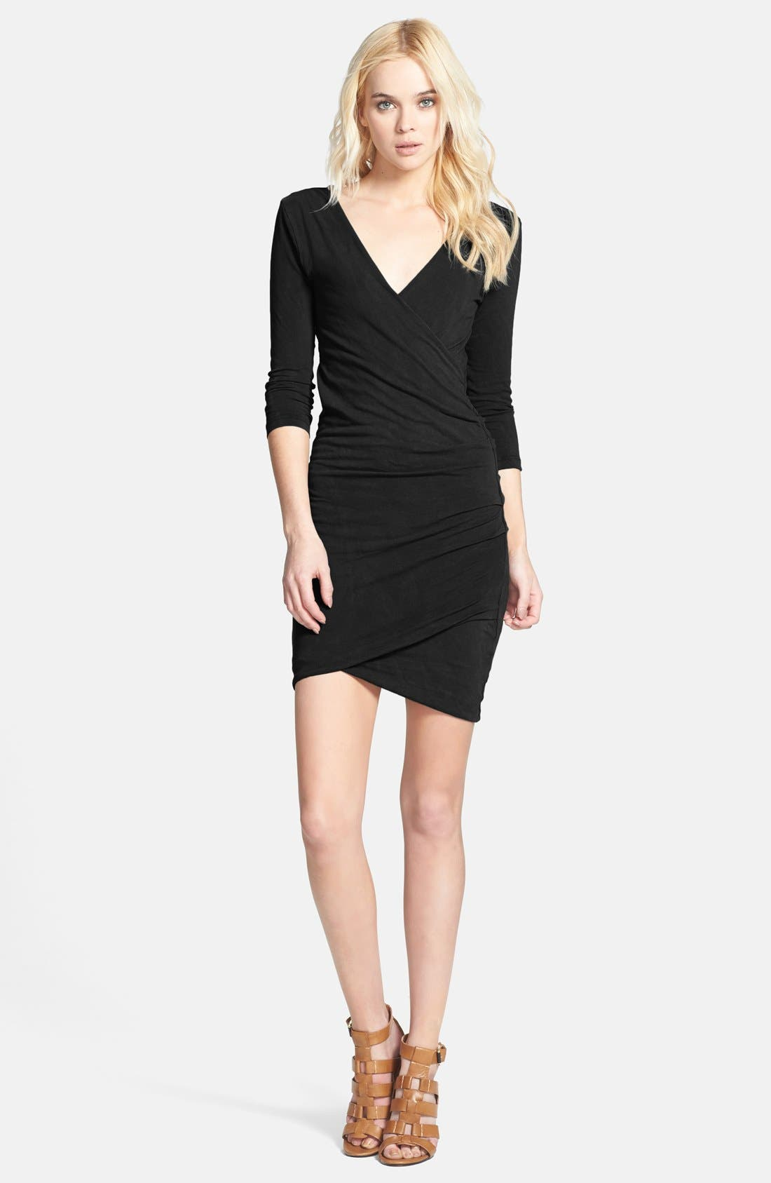 Tucked Faux Wrap Dress, Main, color, 001