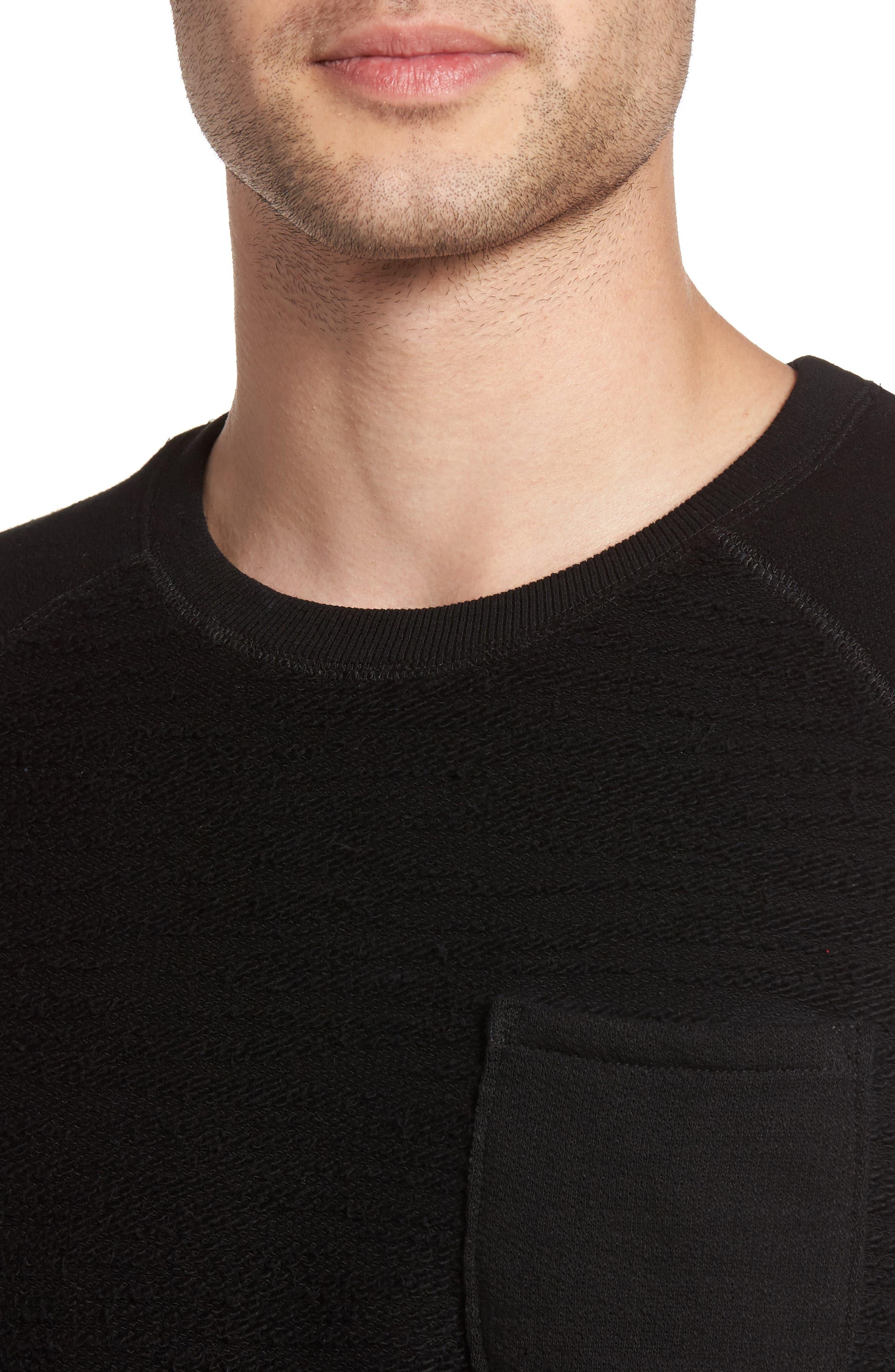 Frey Slubbed Pocket Sweatshirt,                             Alternate thumbnail 4, color,                             001