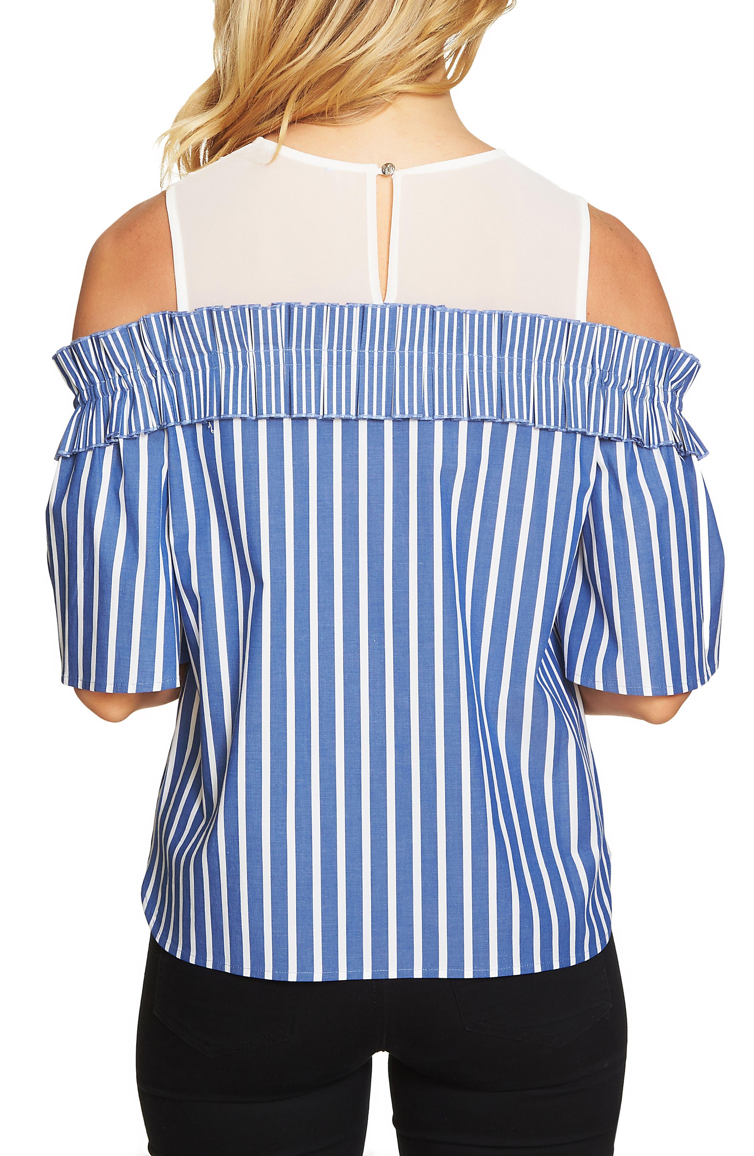 Chiffon Yoke Cold Shoulder Stripe Top,                             Alternate thumbnail 2, color,                             406