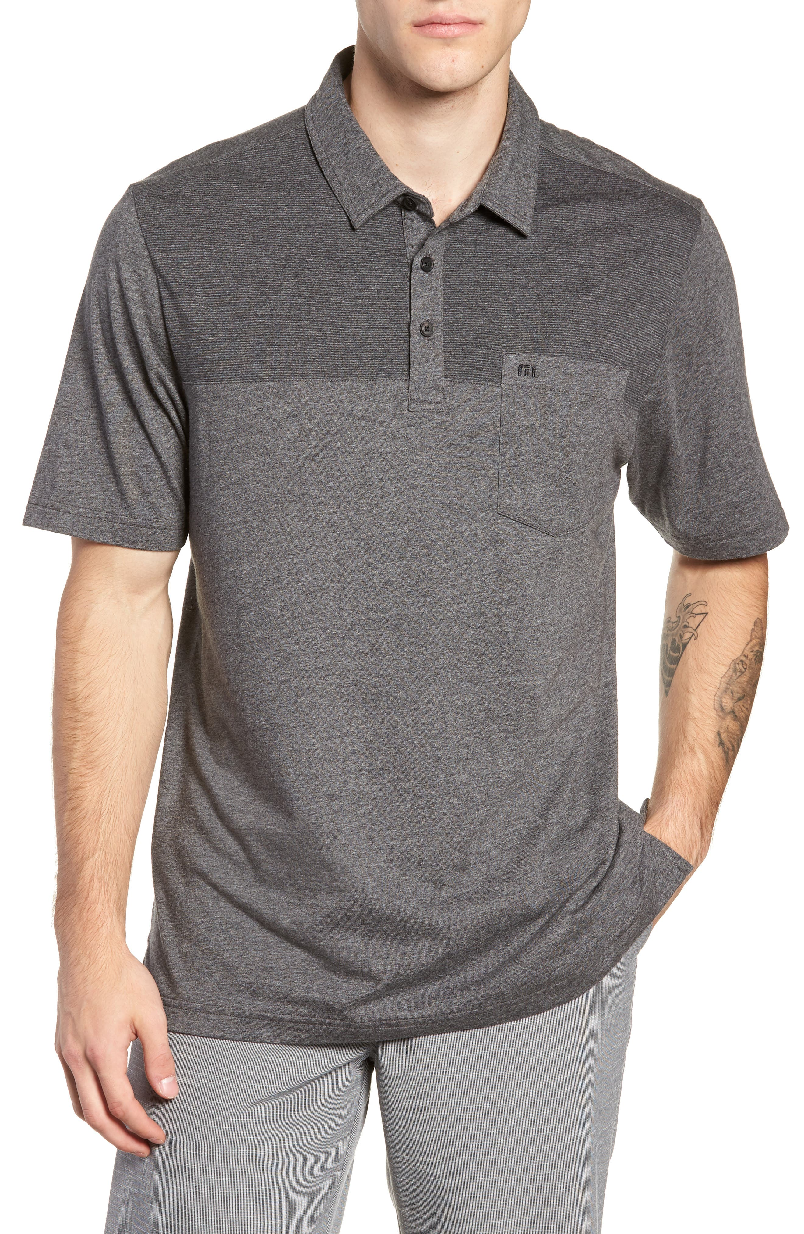 A Bomb Jersey Polo,                         Main,                         color, HEATHER DARK GREY