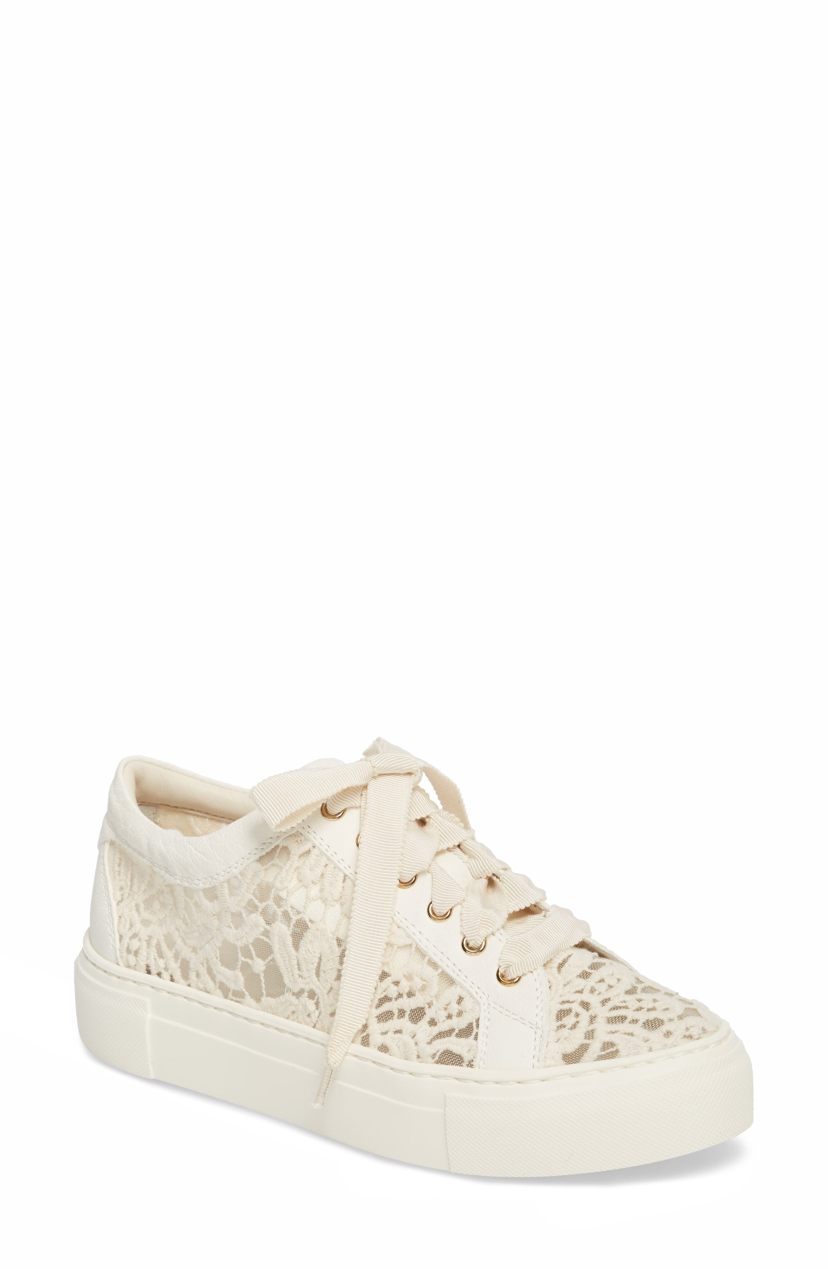 Embroidered Lace Sneaker,                             Main thumbnail 1, color,                             OFF WHITE LEATHER