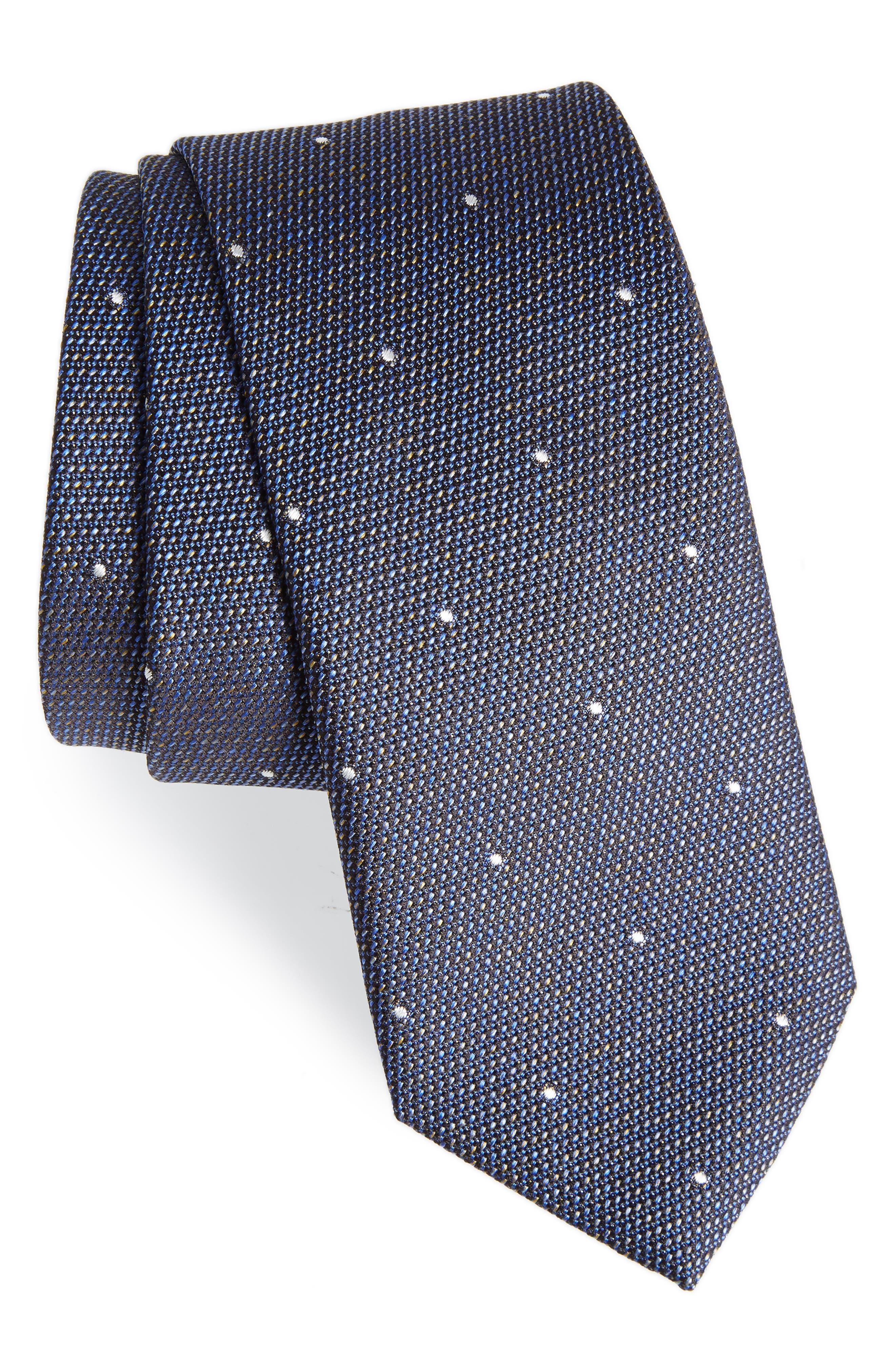 Manston M Dot Silk Tie,                         Main,                         color, STEEL BLUE