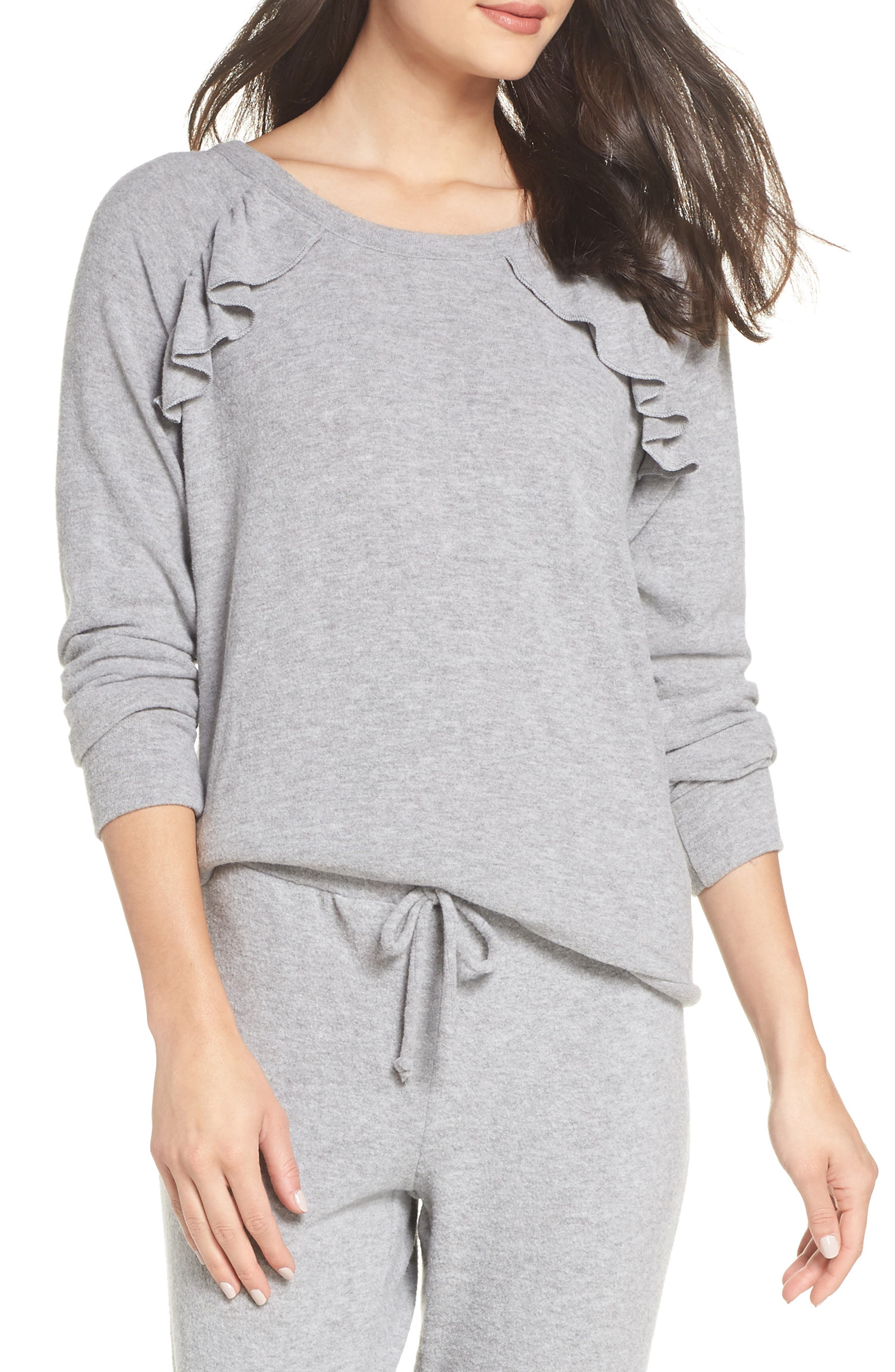 CHASER Love Ruffle Knit Pullover in Heather Grey