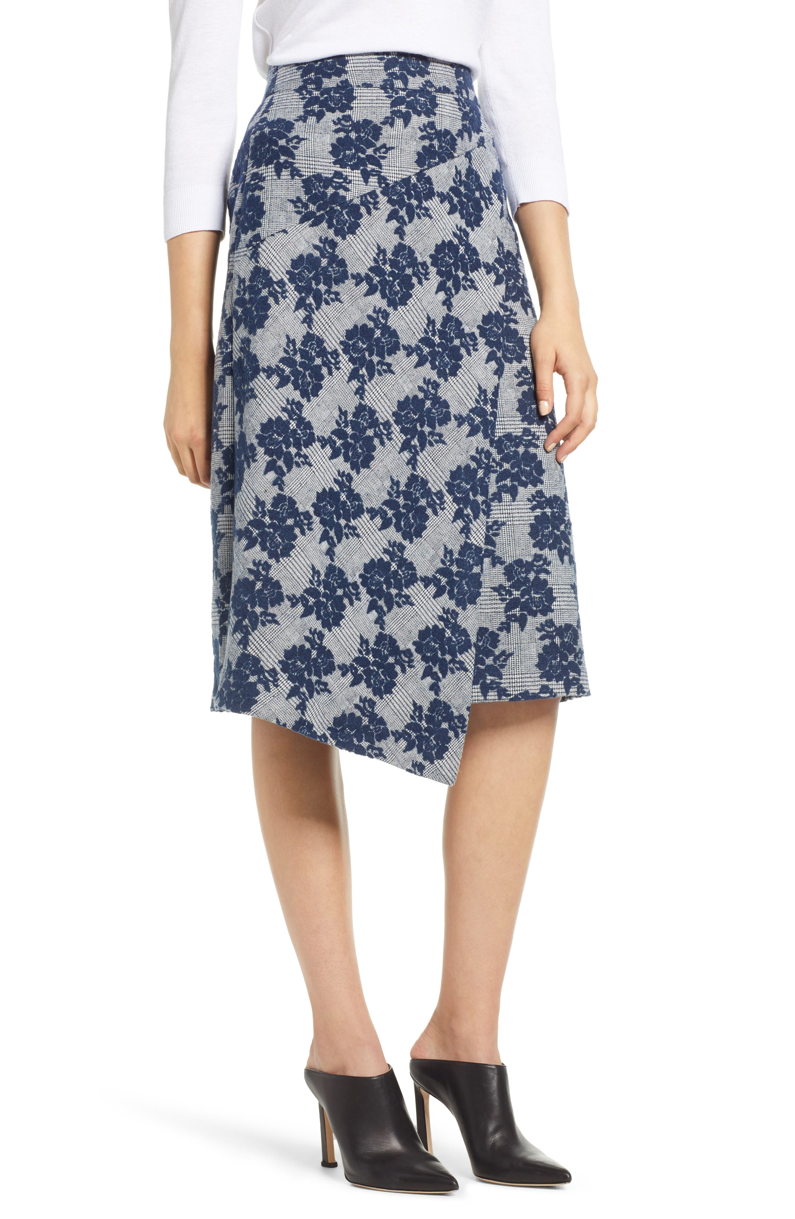 Floral Plaid Asymmetrical Skirt,                             Main thumbnail 1, color,                             BLUE PLAID FLORAL
