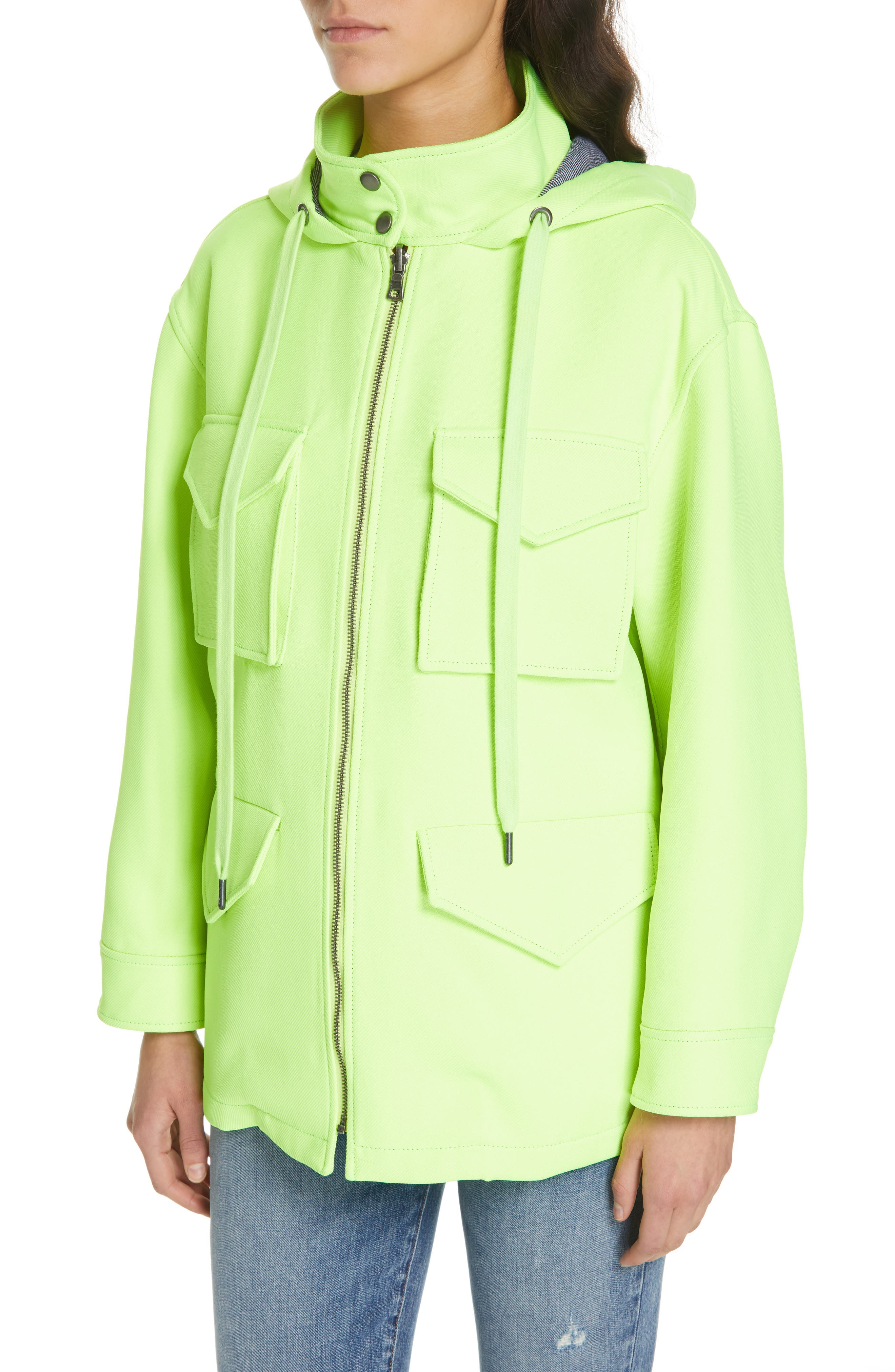 ALICE + OLIVIA,                             Russo Hooded Jacket,                             Alternate thumbnail 4, color,                             NEON YELLOW