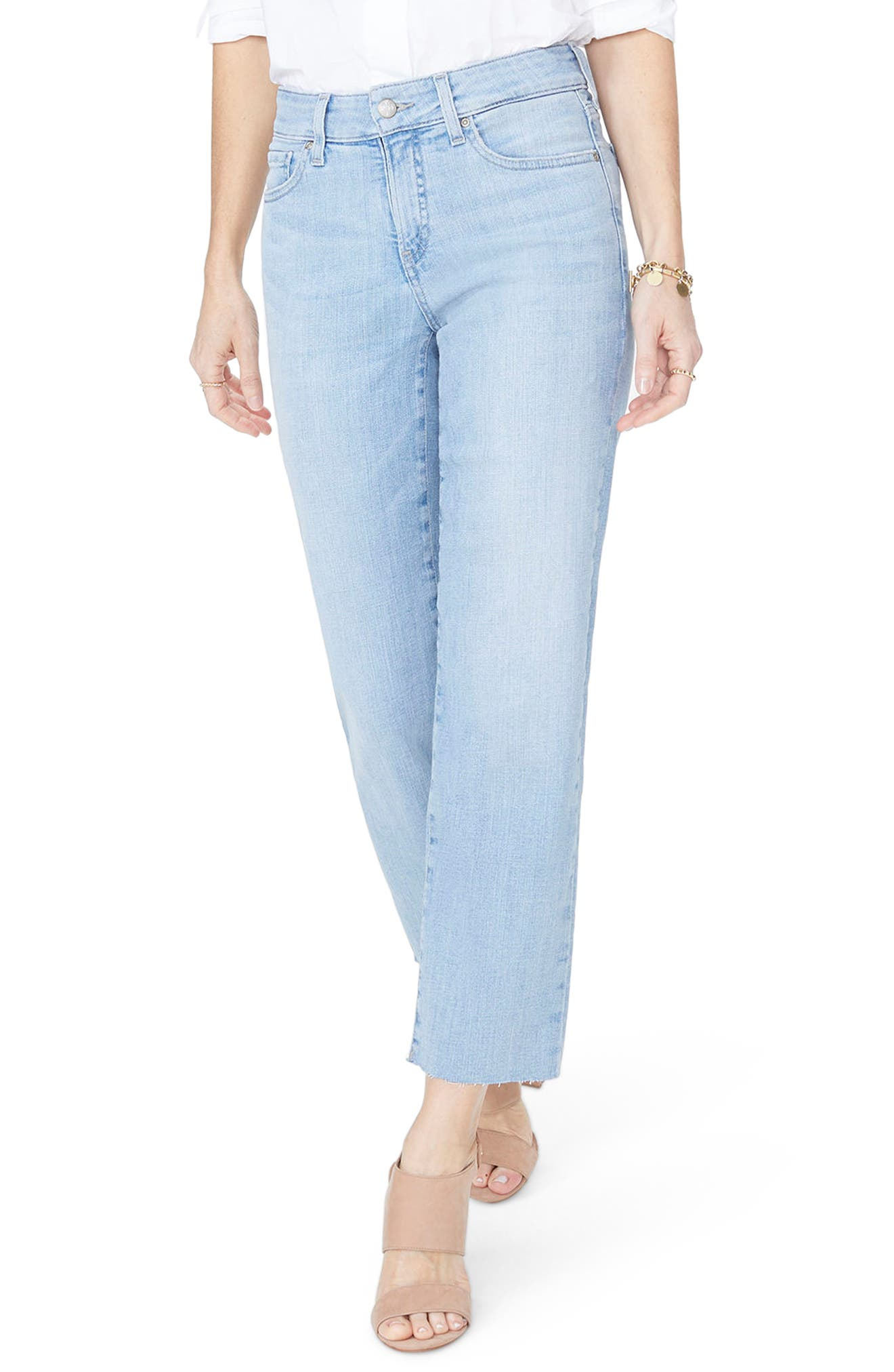 Jenna Straight Leg Raw Hem Ankle Jeans,                             Main thumbnail 1, color,                             WANDERLUST