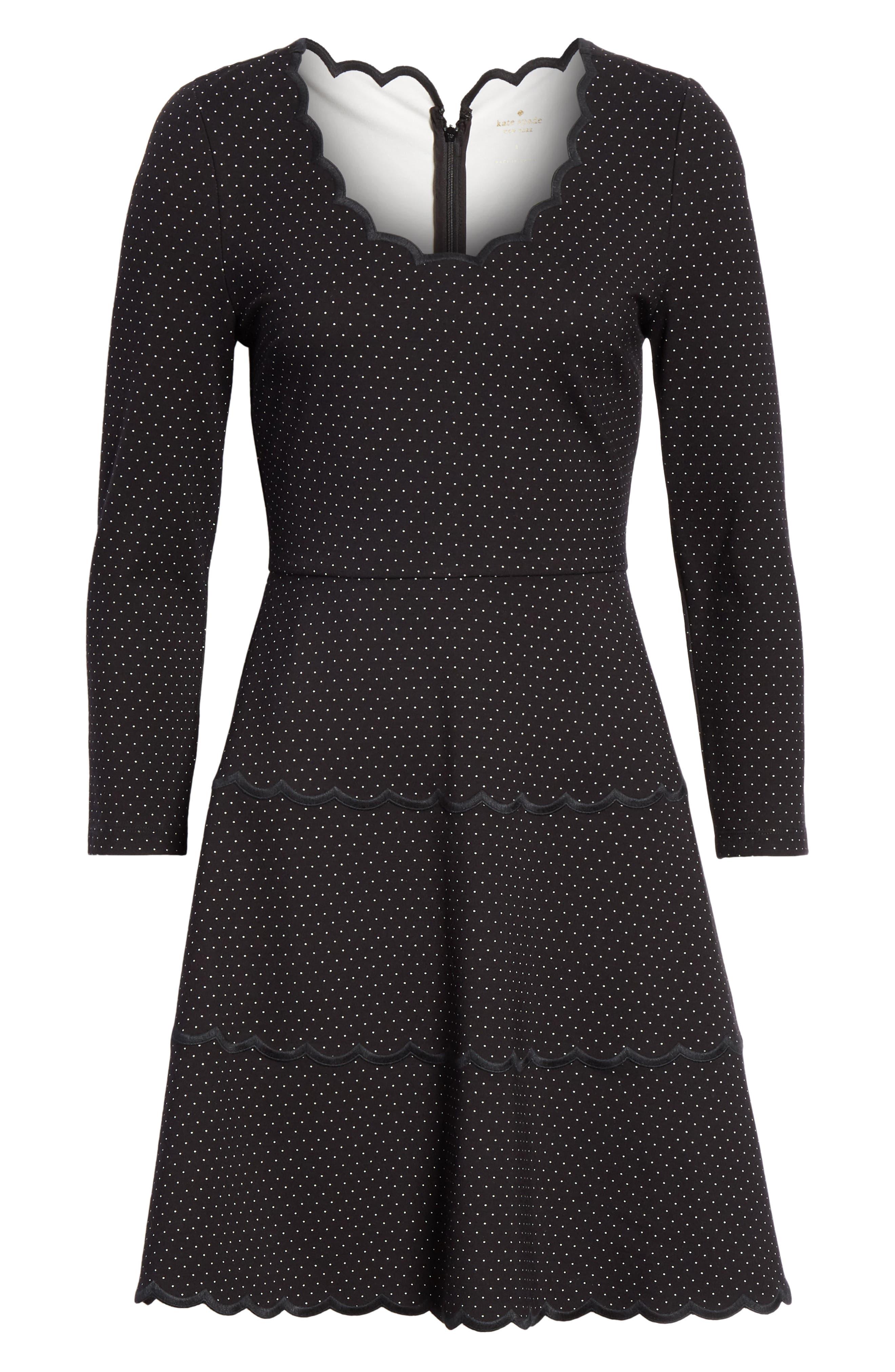 pin dot scallop ponte fit & flare dress,                             Alternate thumbnail 7, color,                             001