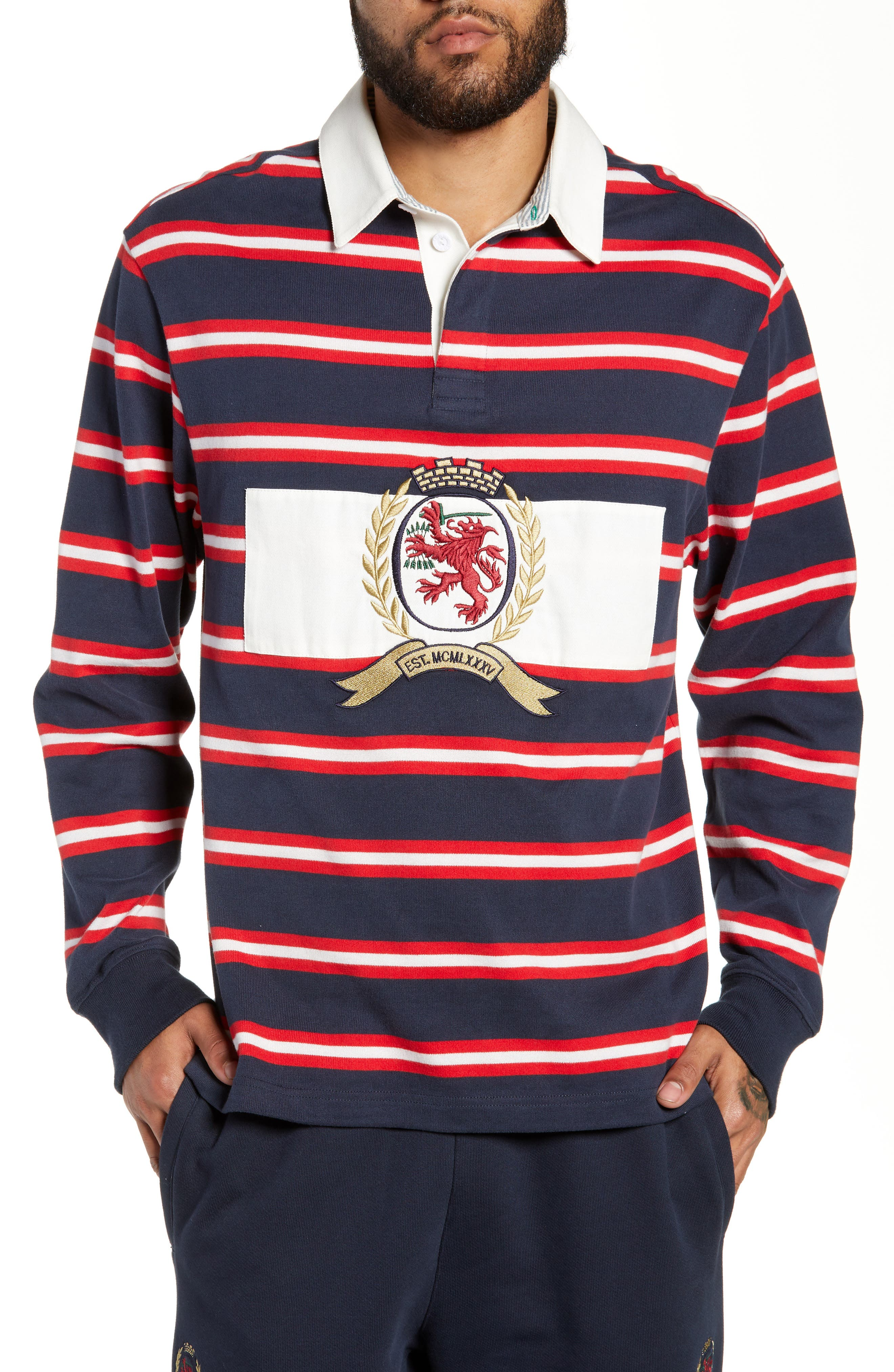 Crest Stripe Rugby Polo,                             Main thumbnail 1, color,                             DARK SAPPHIRE / MULTI