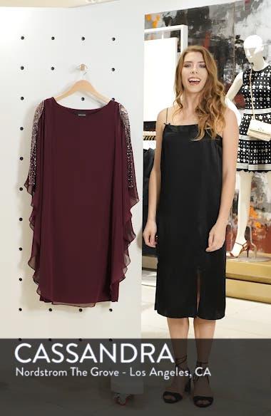 Chiffon Overlay Beaded Sleeve Cocktail Dress, sales video thumbnail