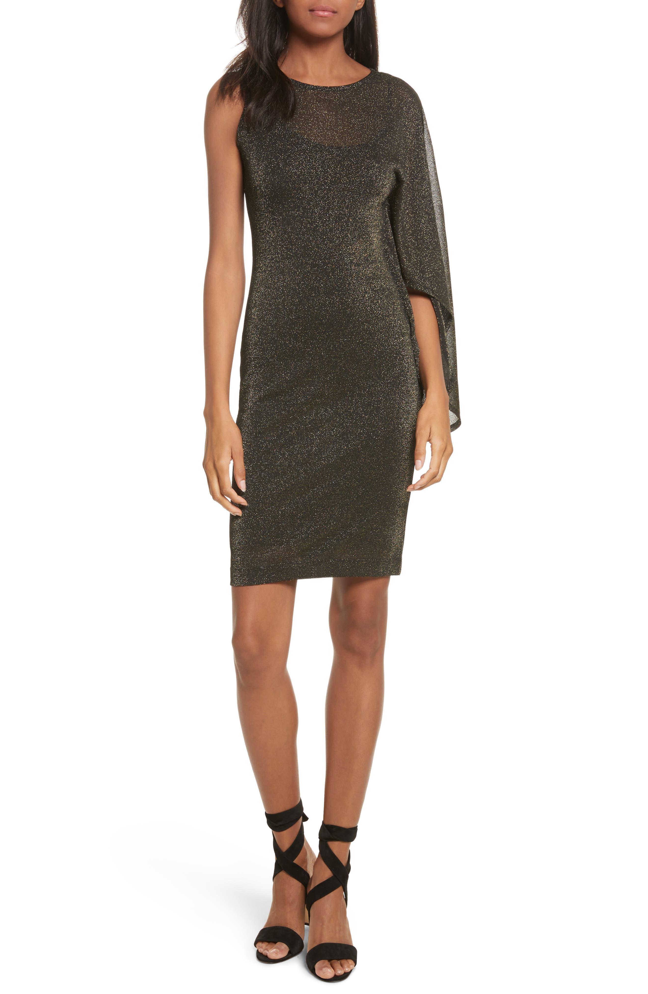 Draped One-Shoulder Dress,                         Main,                         color, 001