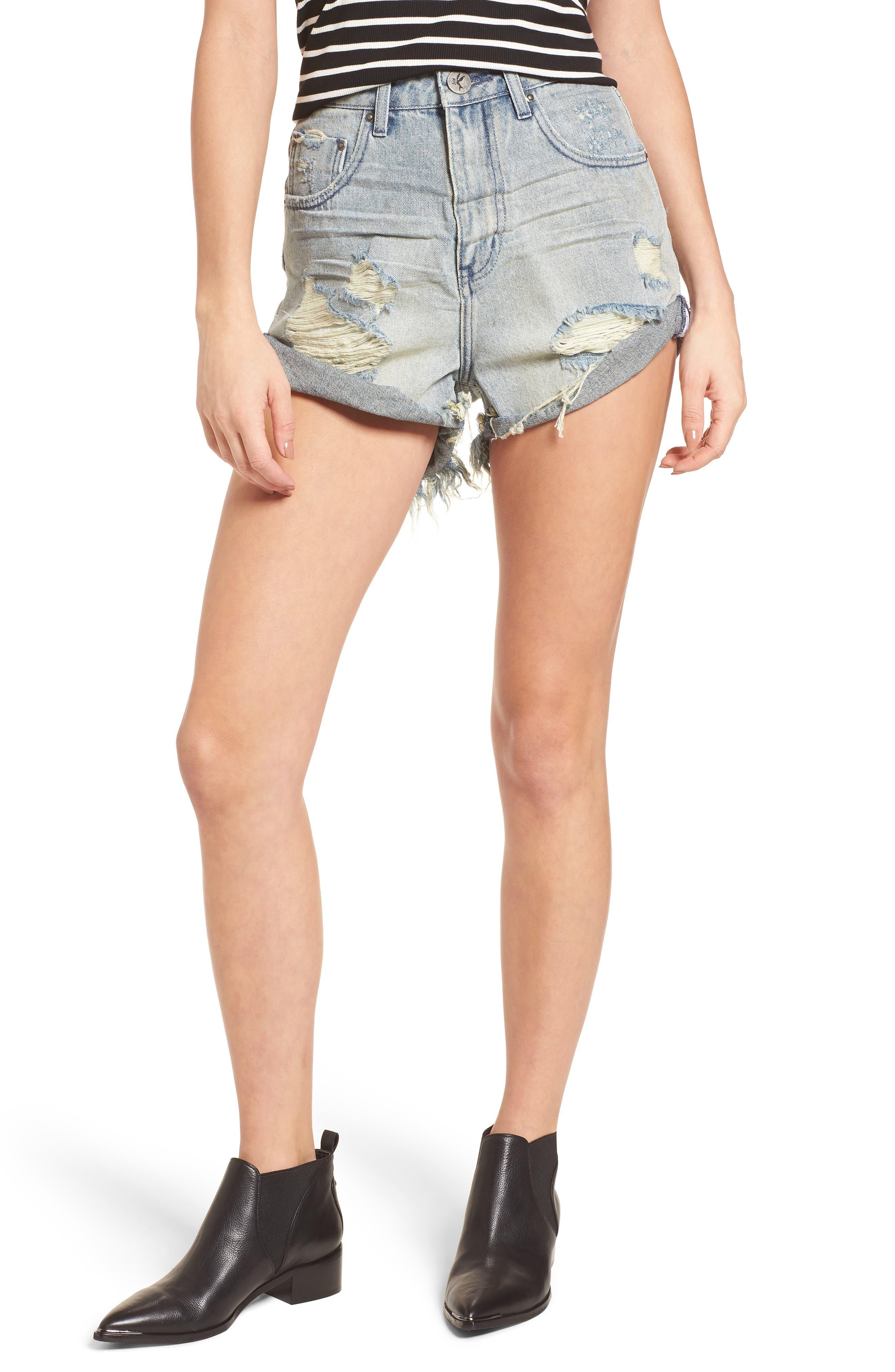 Bandit Ripped High Waist Jean Shorts,                         Main,                         color, 488