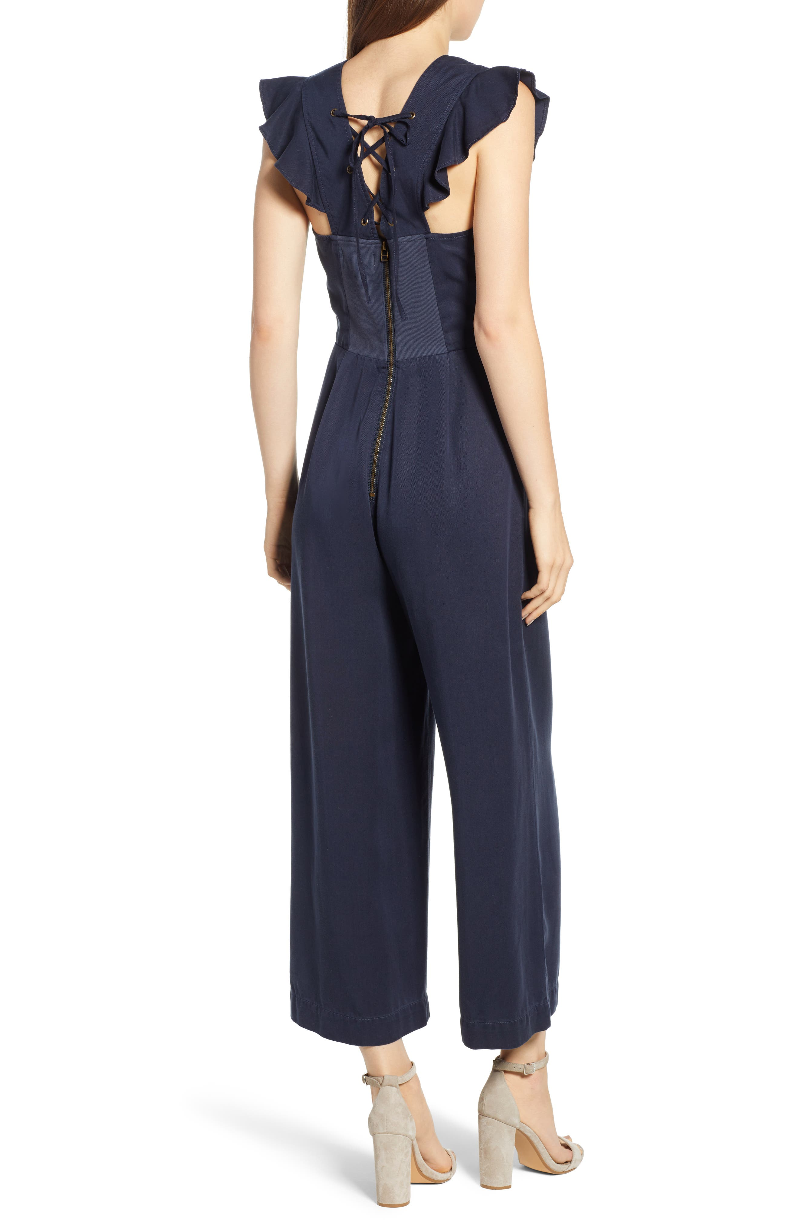 Ruffle Sleeve Jumpsuit,                             Alternate thumbnail 2, color,                             410