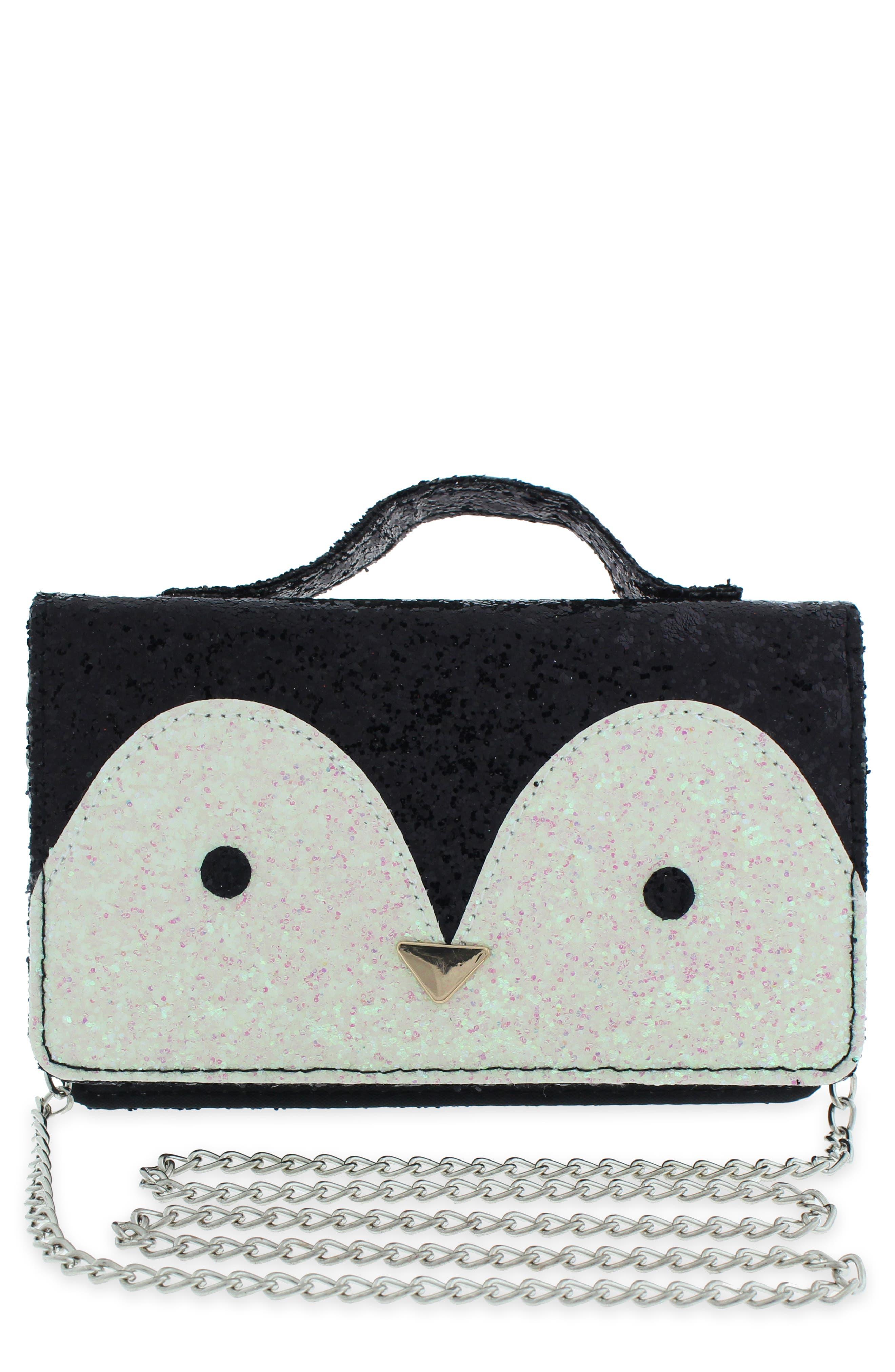 Girls Capelli New York Glitter Penguin Crossbody Bag  Black
