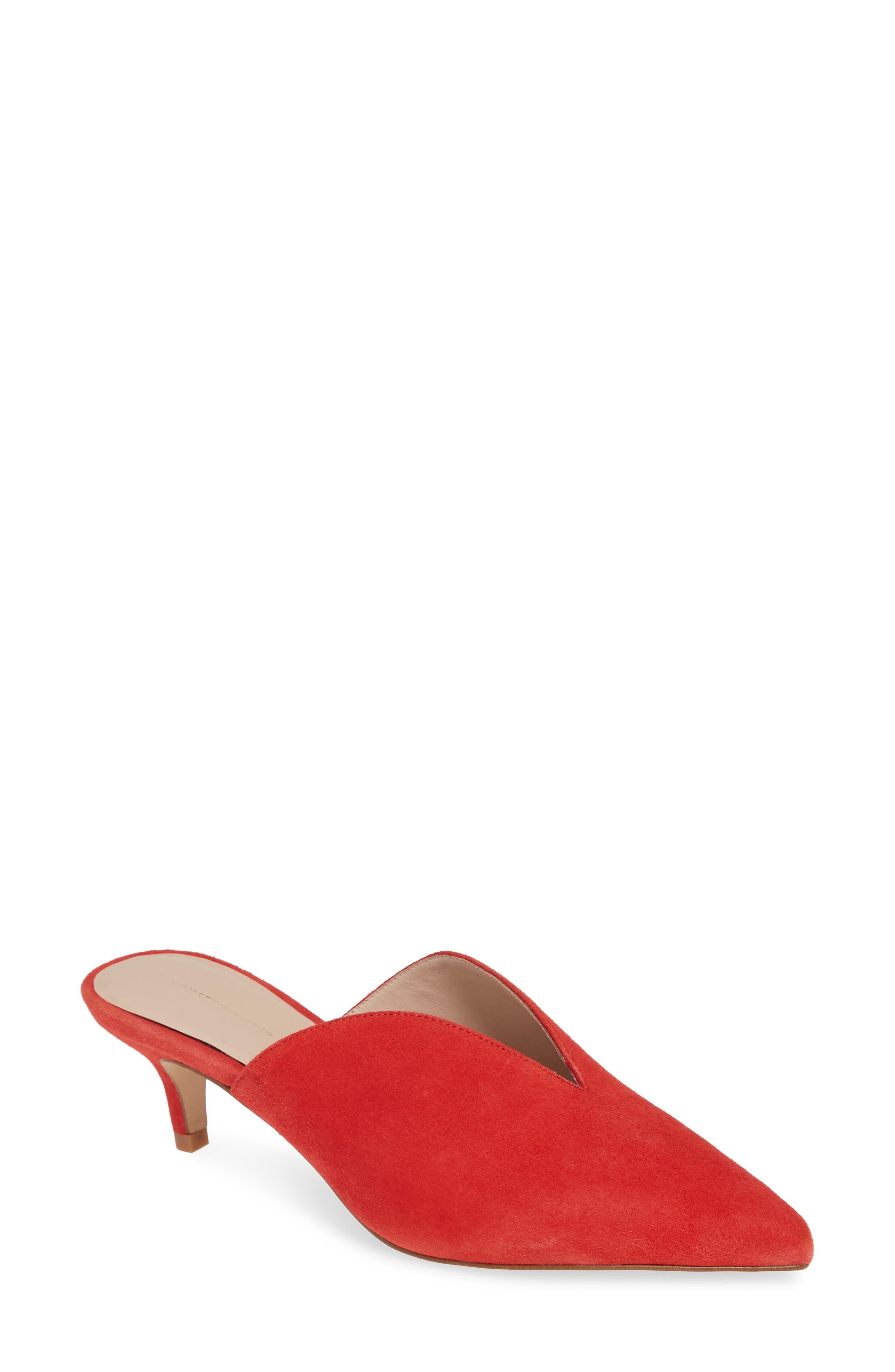 Utopia Kitten Heel Mule,                         Main,                         color, RED SUEDE