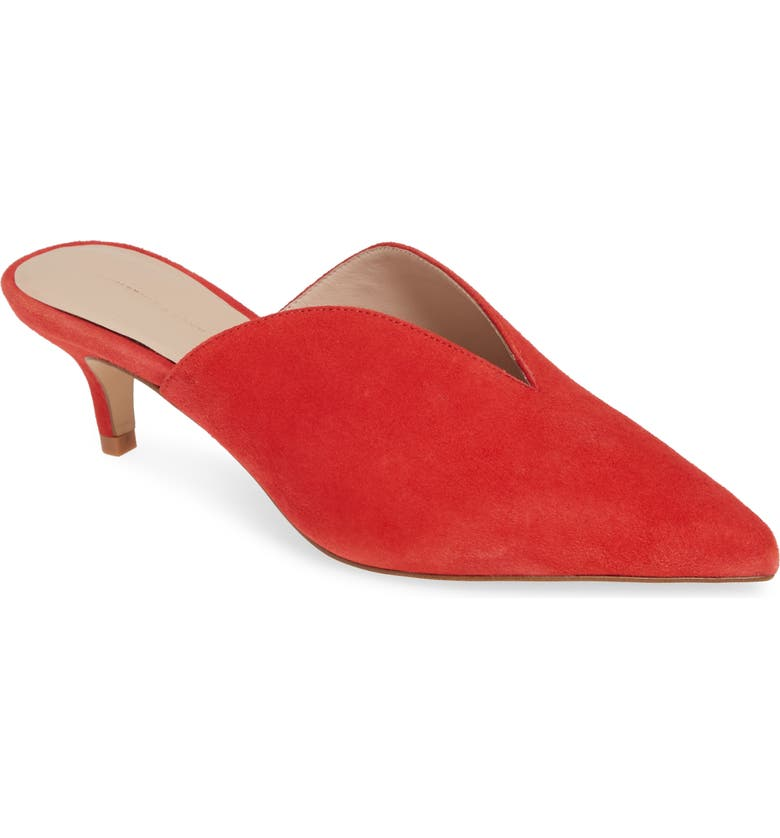 Utopia Kitten Heel Mule,                         Main,                         color, RED SUEDE
