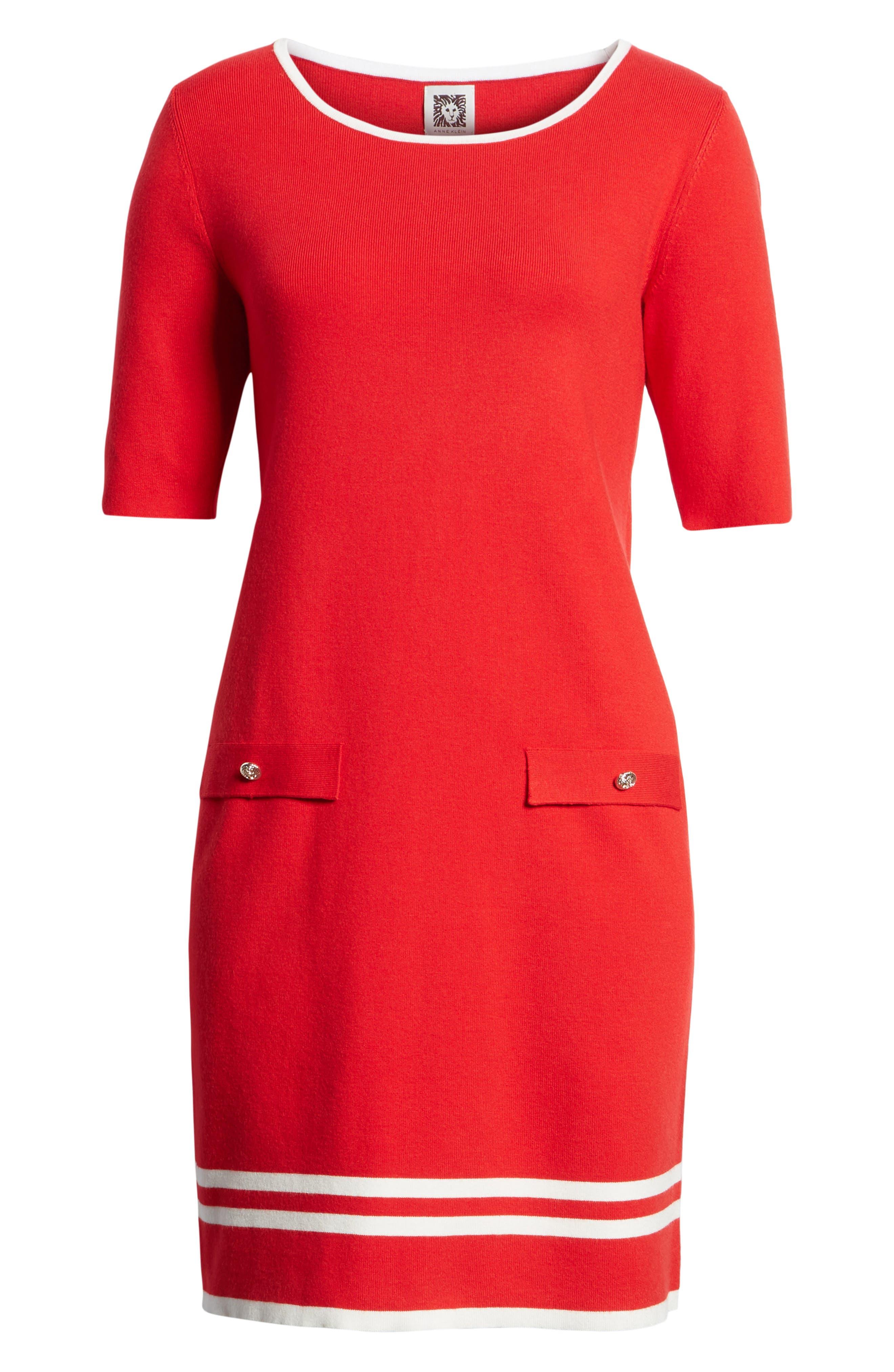 Ann Klein New York Stripe Border Knit Sheath Dress,                             Alternate thumbnail 14, color,