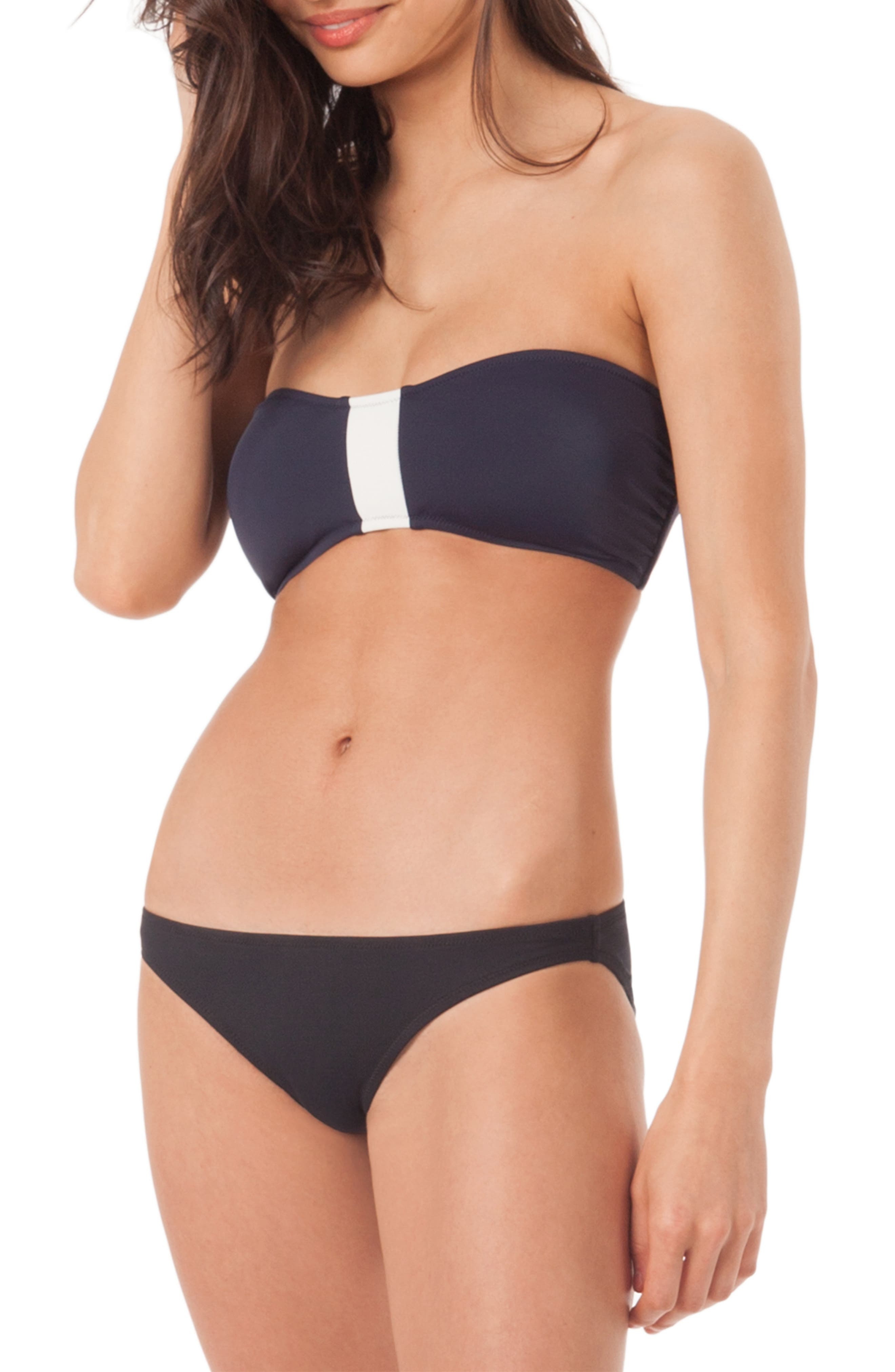 The Colorblock Bandeau Swim Top,                             Main thumbnail 1, color,                             LIVELY NAVY AND LIVELY WHITE