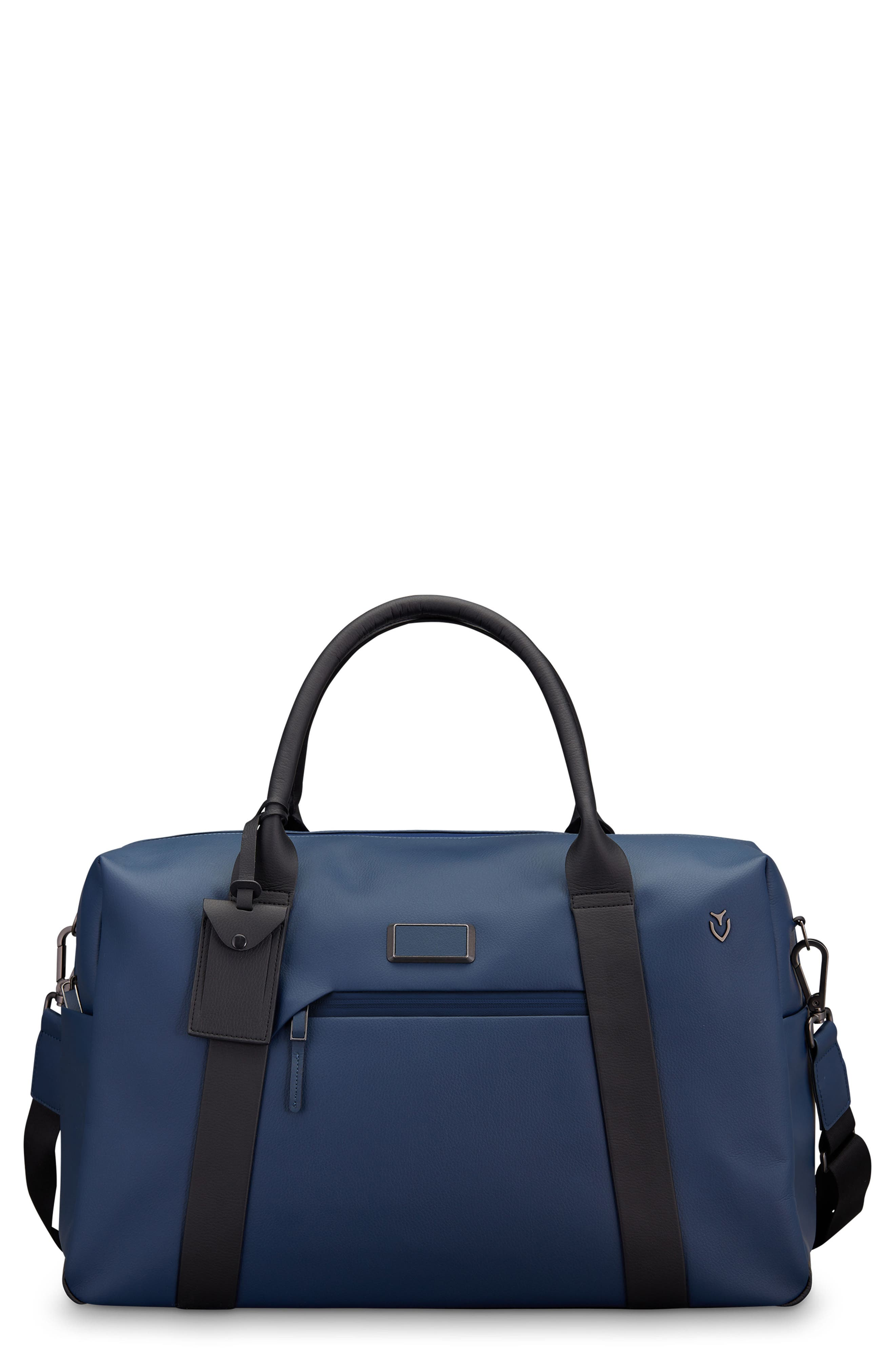 Signature 2.0 Faux Leather Duffel Bag,                             Main thumbnail 1, color,                             PEBBLED NAVY/ BLACK