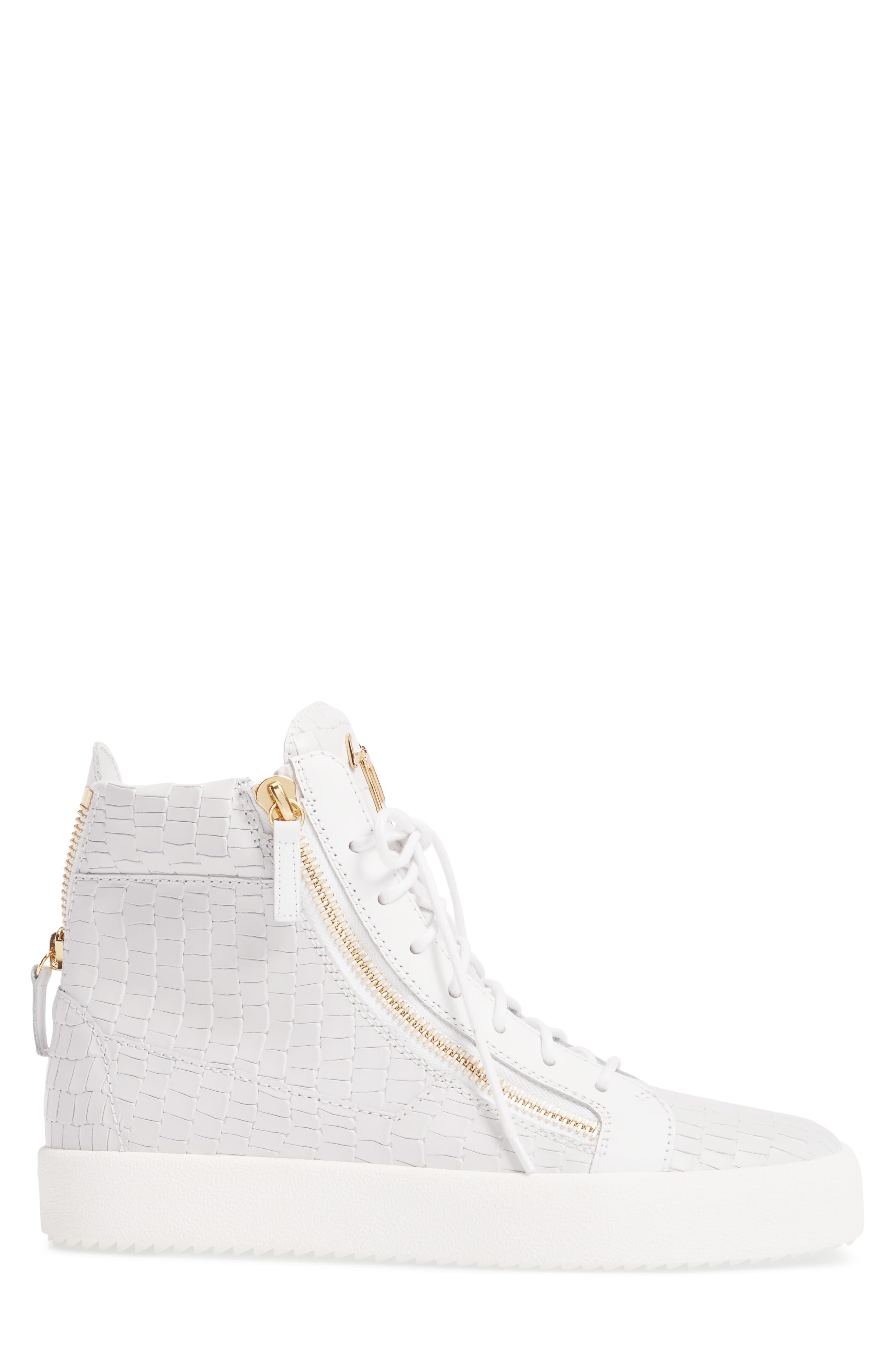High-Top Sneaker,                             Alternate thumbnail 3, color,                             WHITE